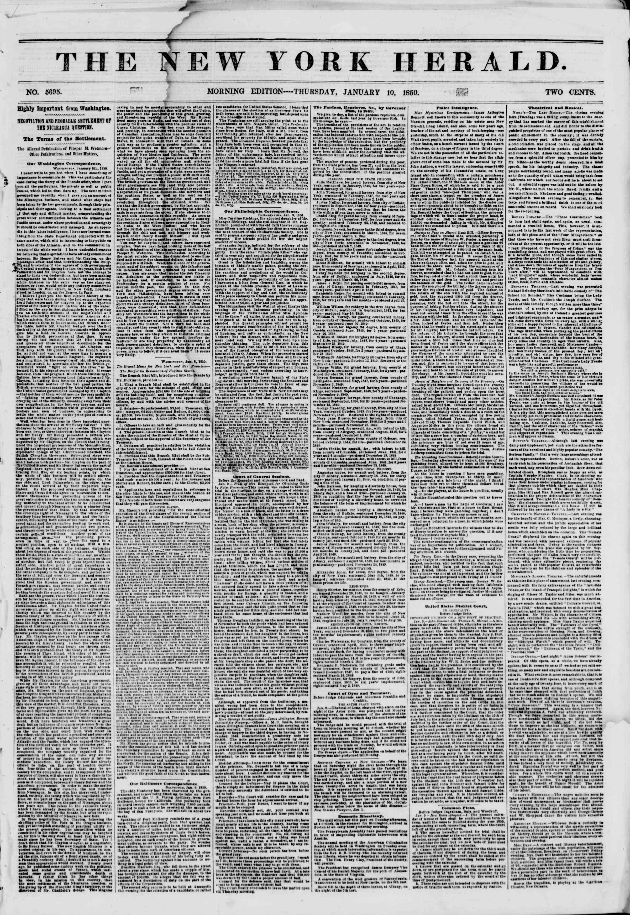 Newspaper of The New York Herald dated January 10, 1850 Page 1