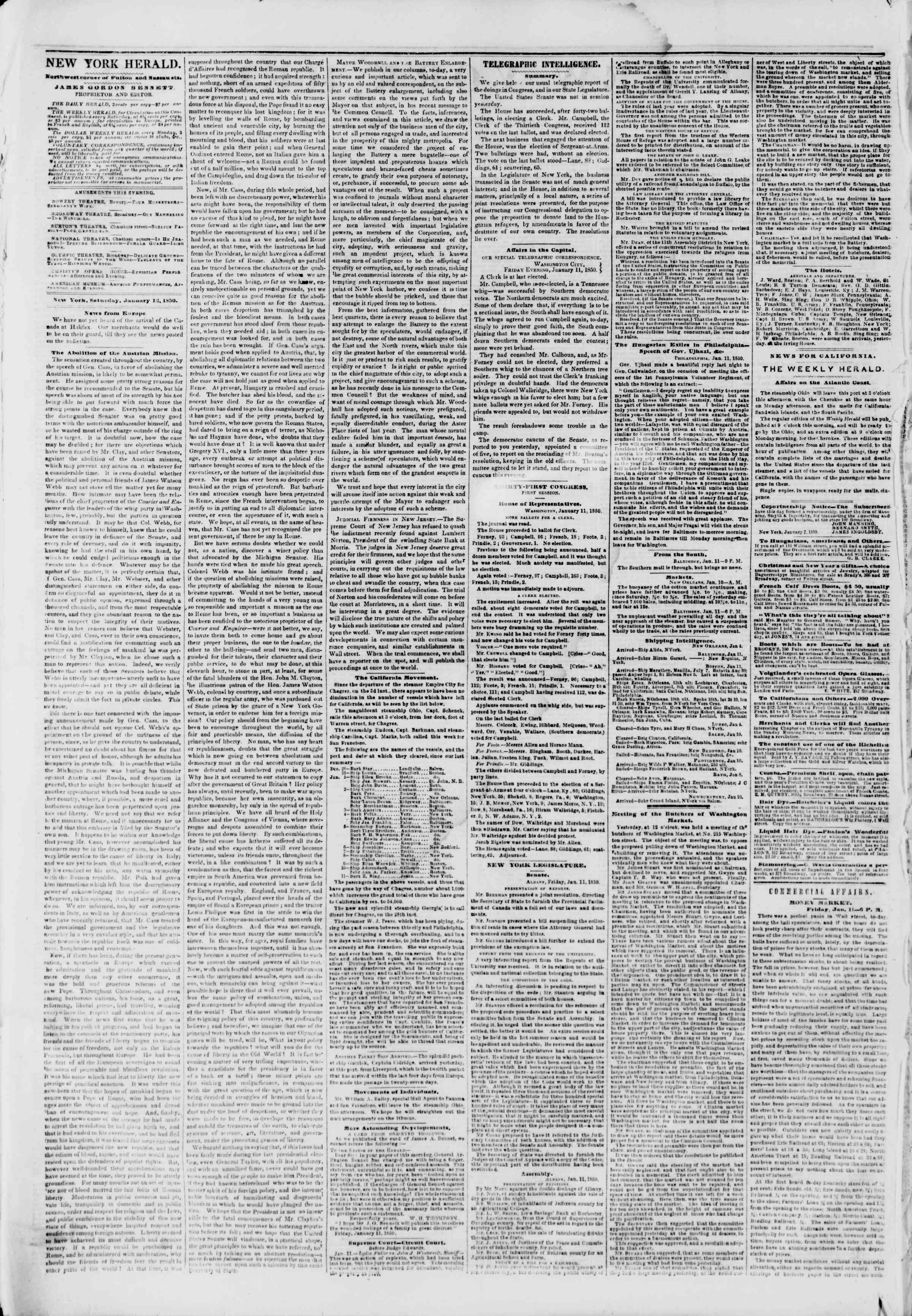 Newspaper of The New York Herald dated January 12, 1850 Page 2