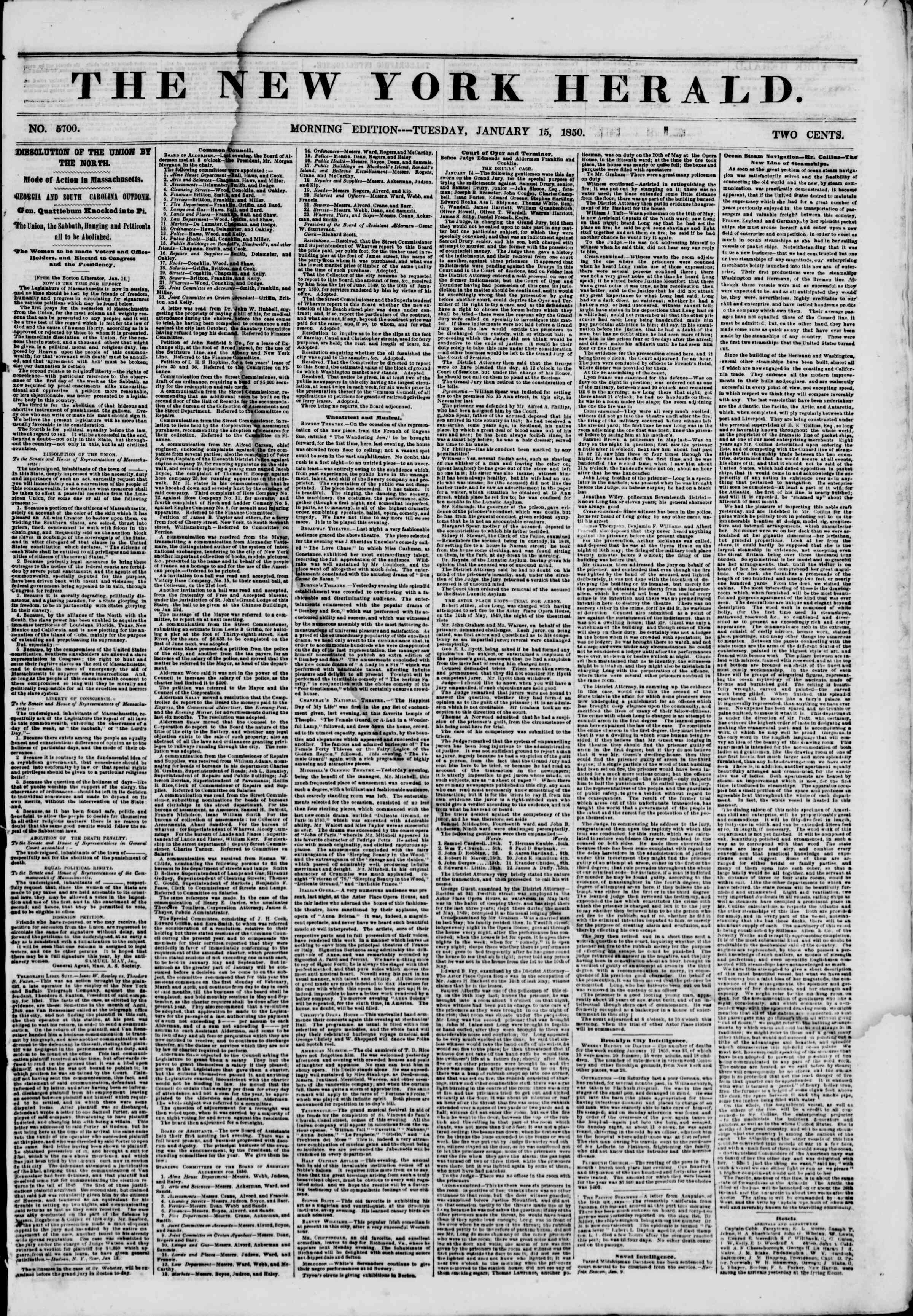 Newspaper of The New York Herald dated January 15, 1850 Page 1