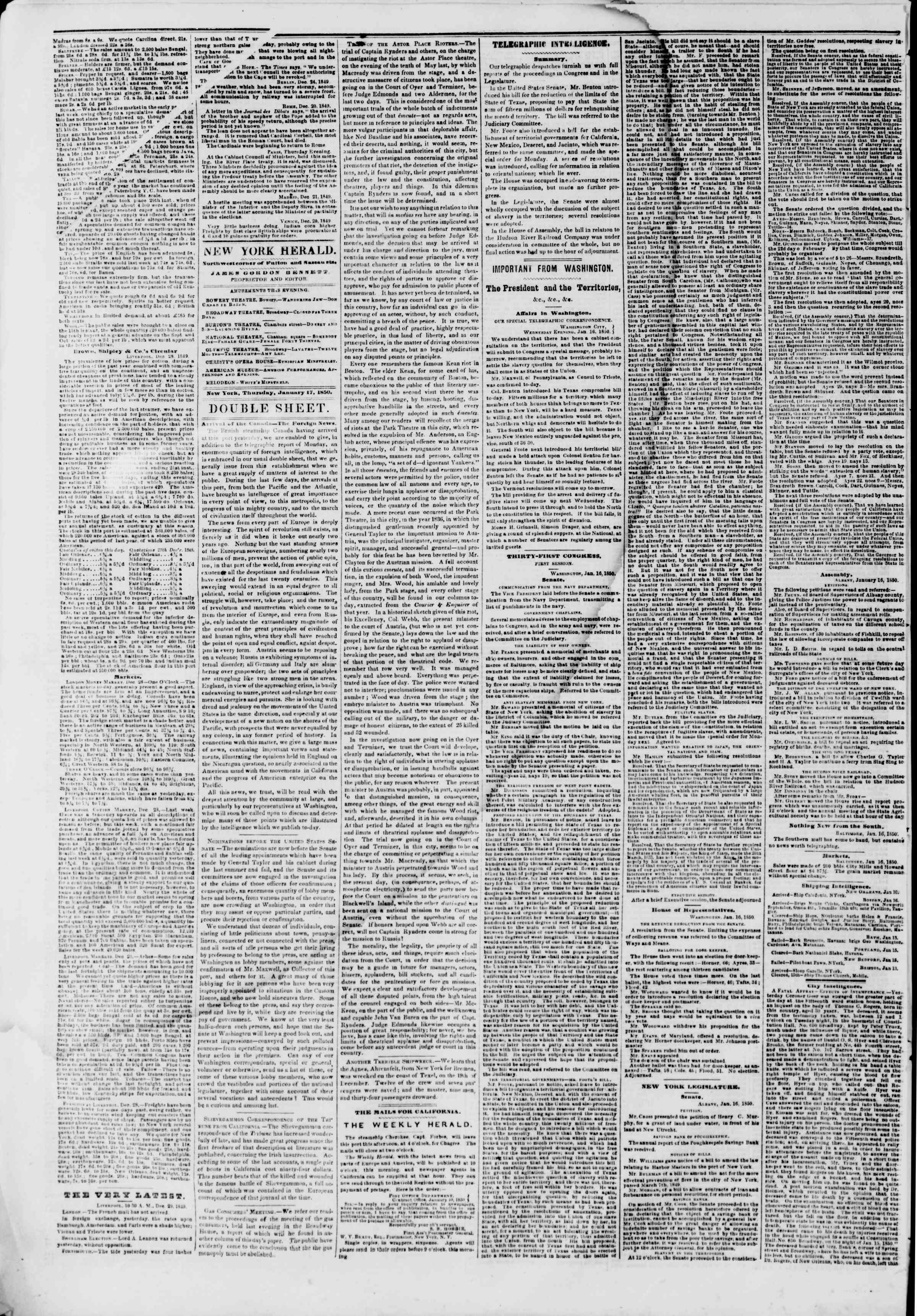 Newspaper of The New York Herald dated January 17, 1850 Page 4