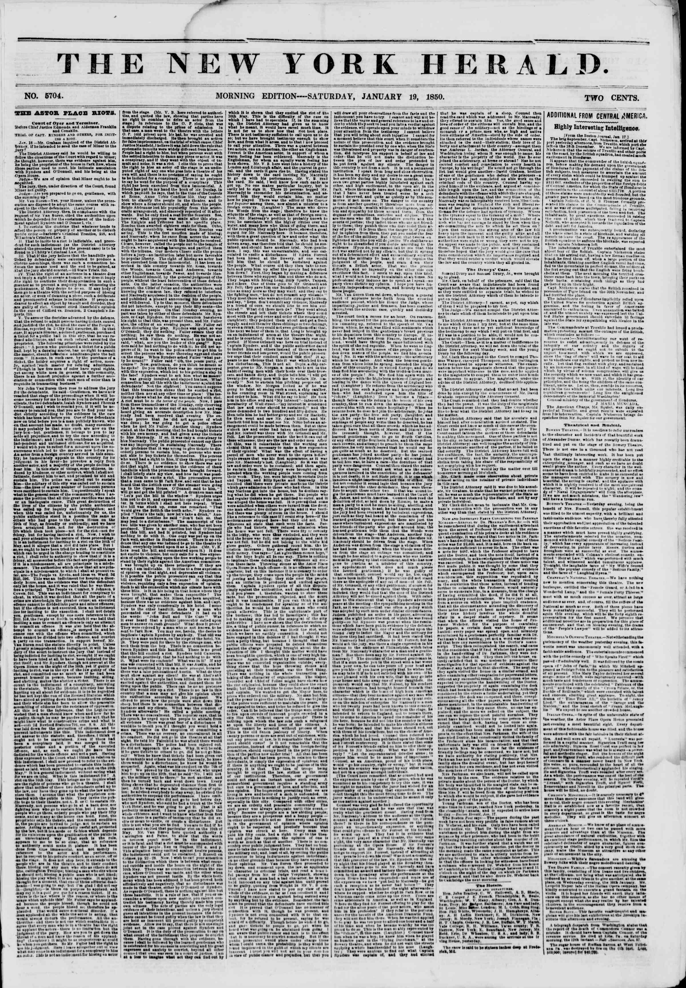 Newspaper of The New York Herald dated January 19, 1850 Page 1