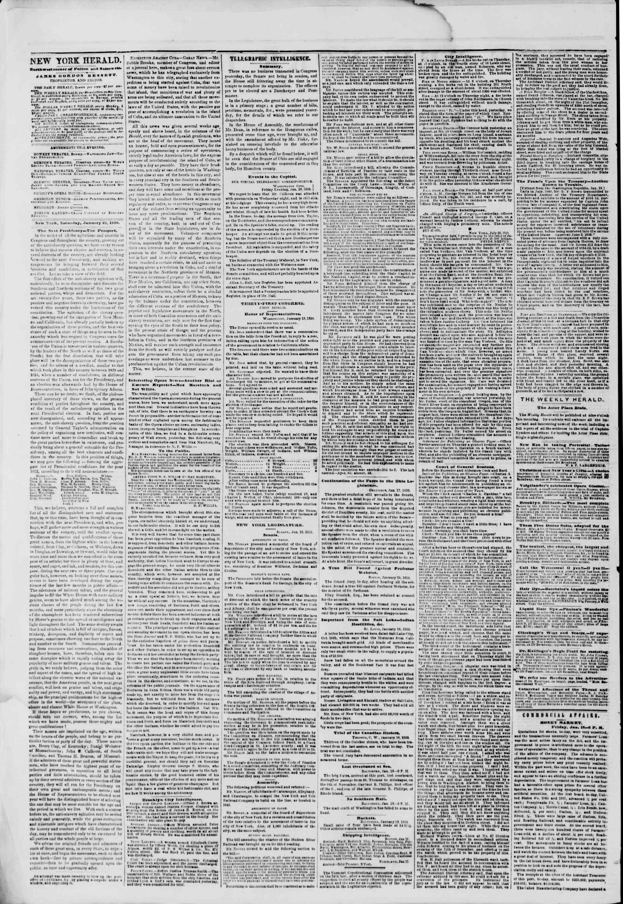19 Ocak 1850 tarihli The New York Herald Gazetesi Sayfa 2