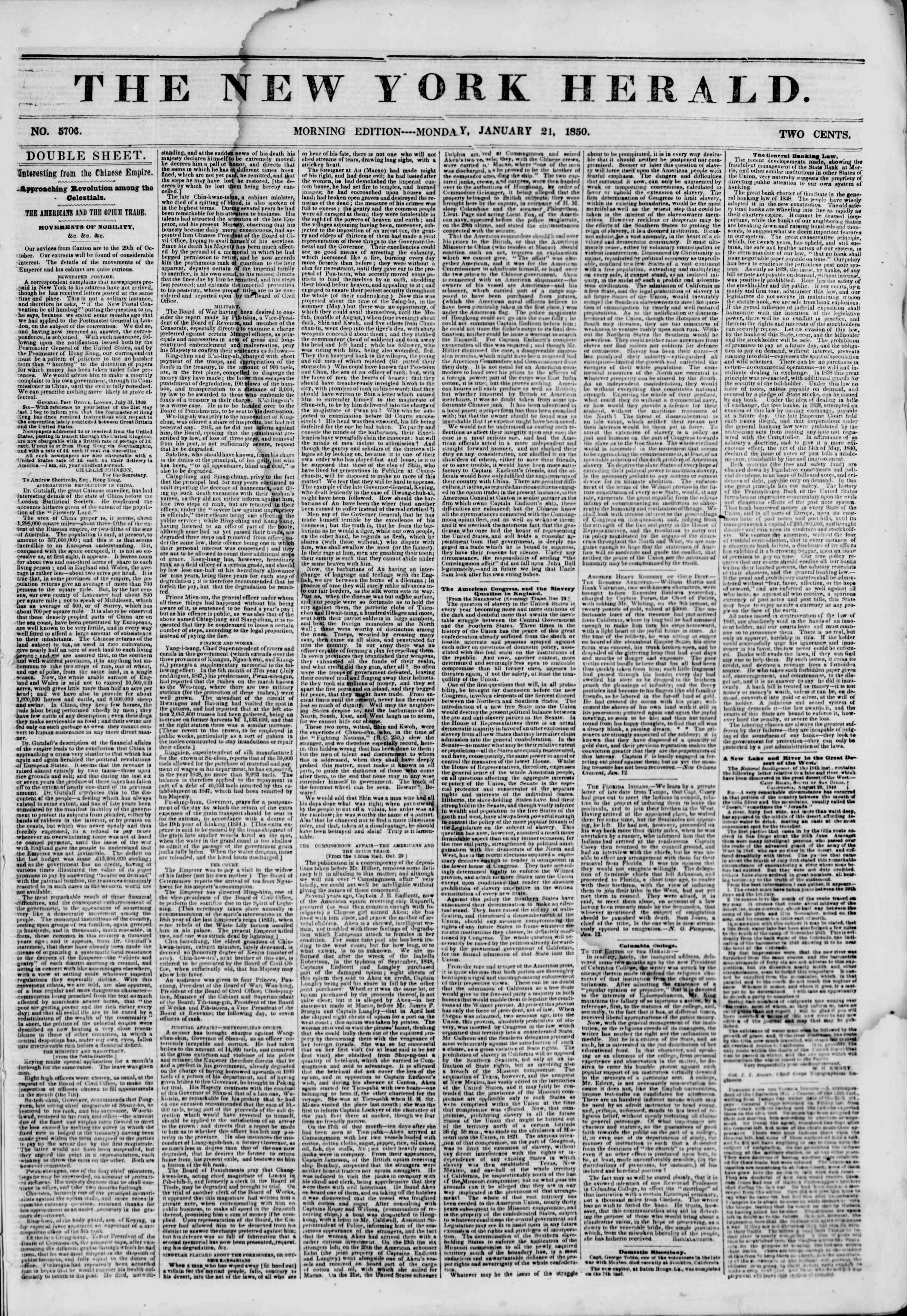 Newspaper of The New York Herald dated January 21, 1850 Page 1