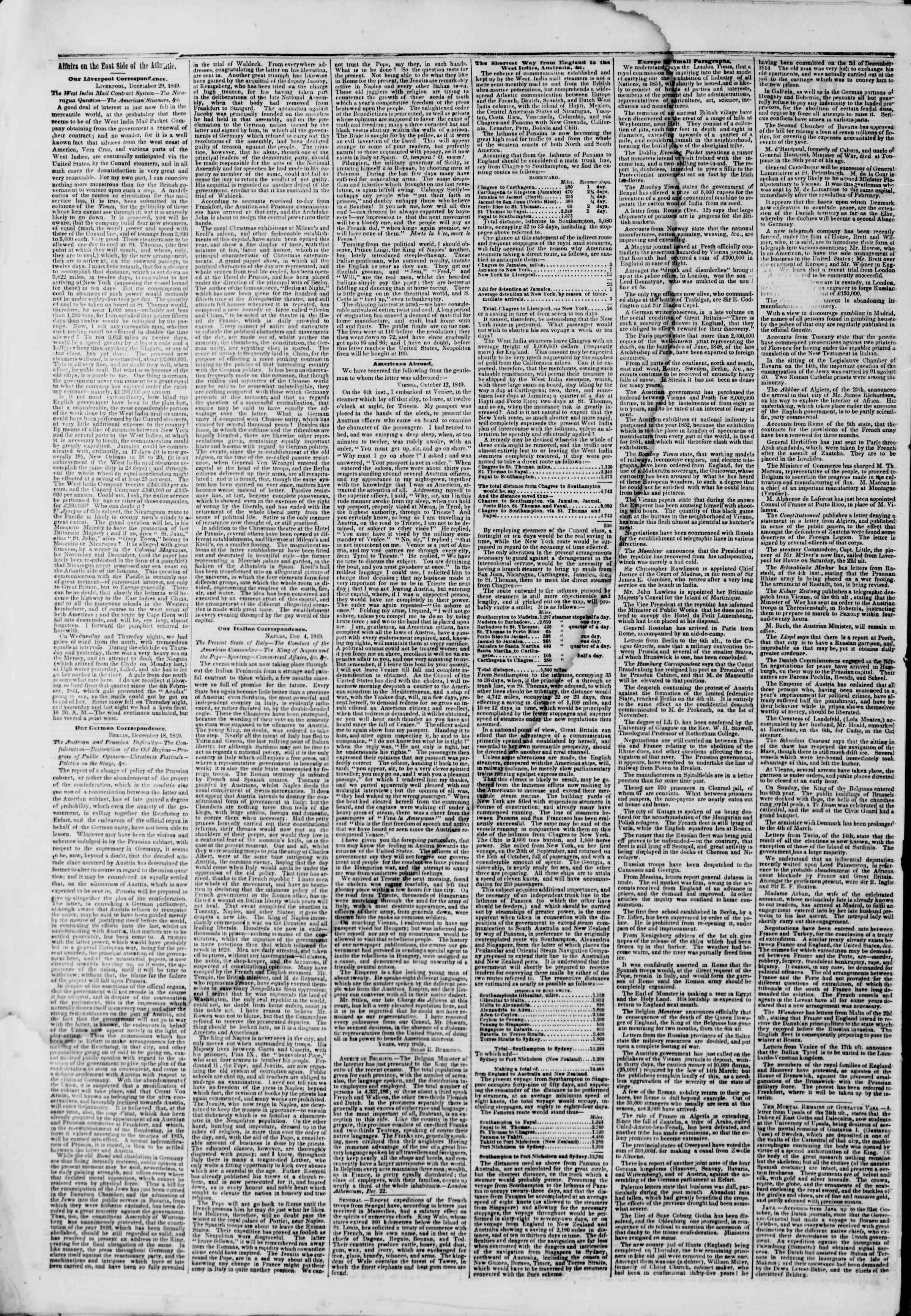 Newspaper of The New York Herald dated January 21, 1850 Page 2