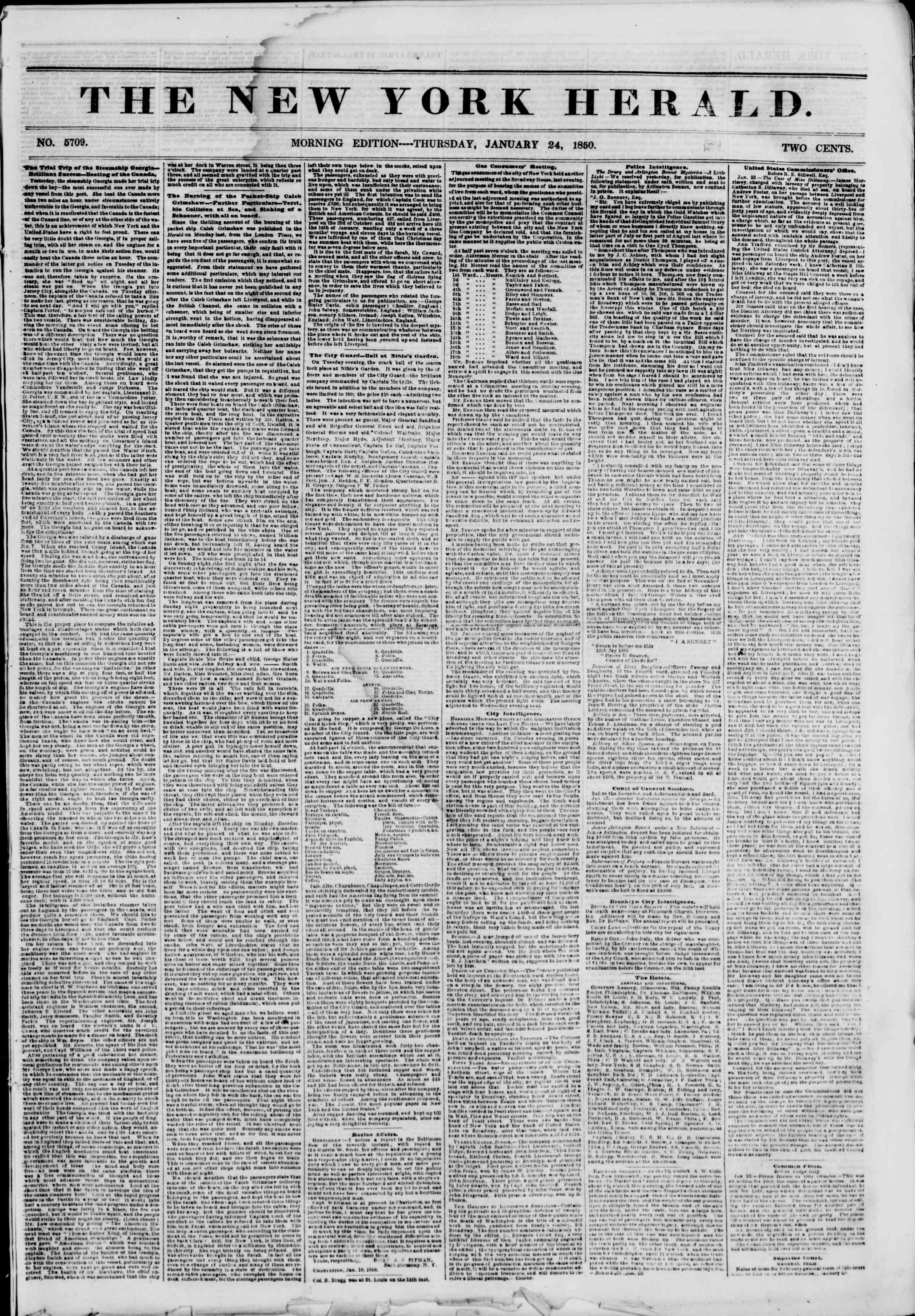 Newspaper of The New York Herald dated January 24, 1850 Page 1