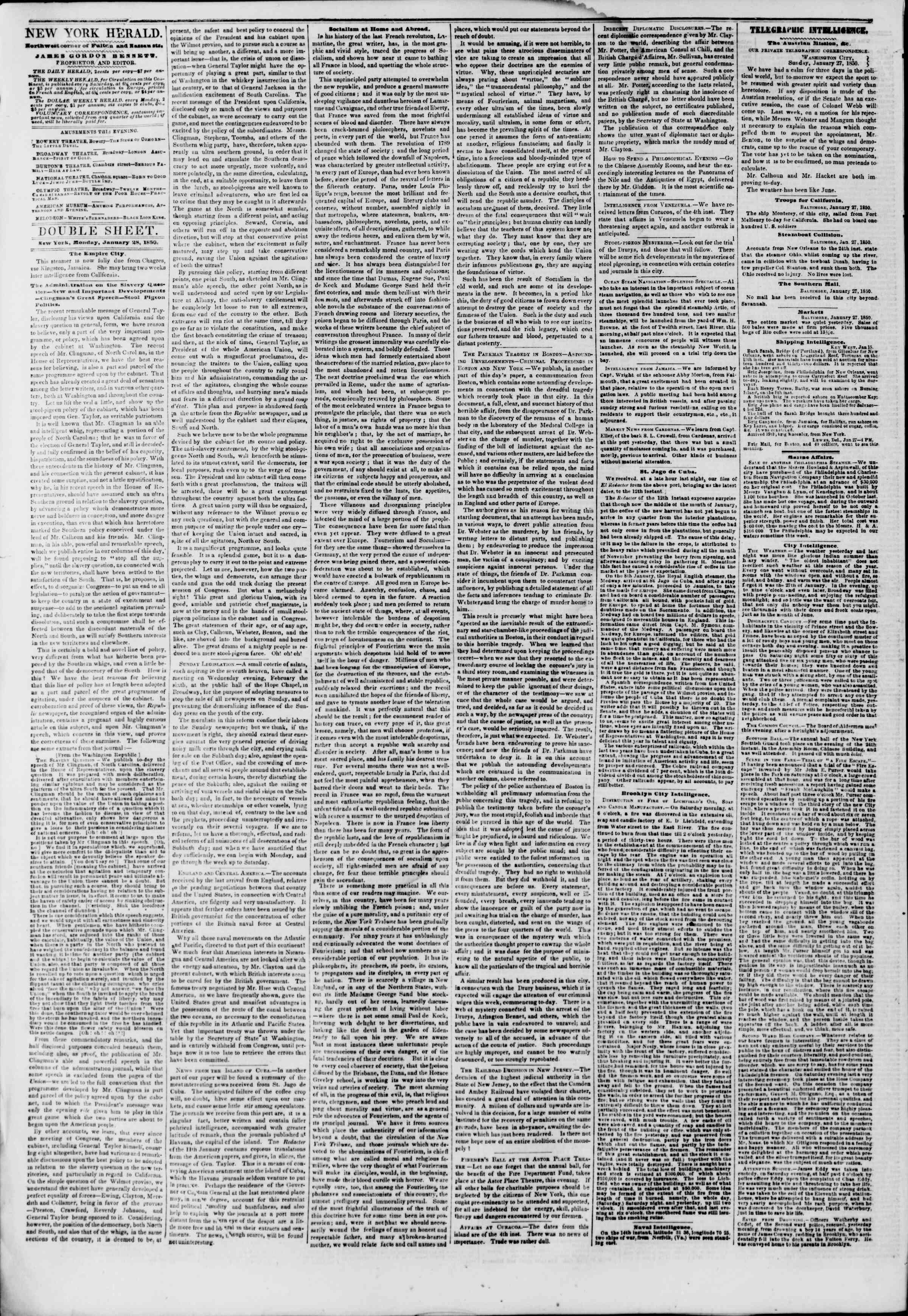 Newspaper of The New York Herald dated January 28, 1850 Page 4