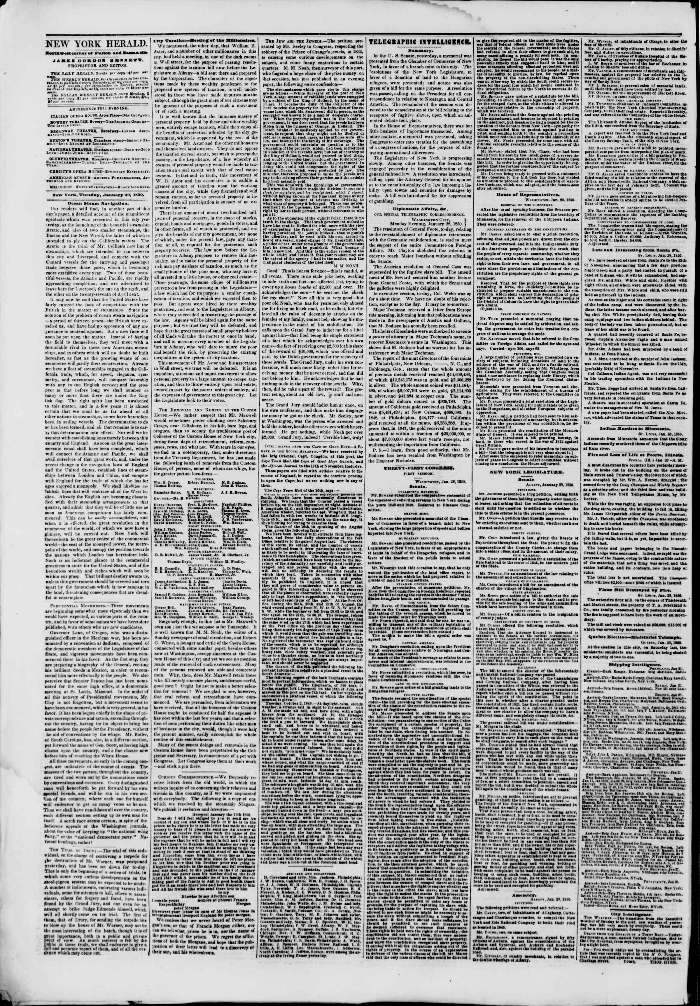 Newspaper of The New York Herald dated January 29, 1850 Page 2