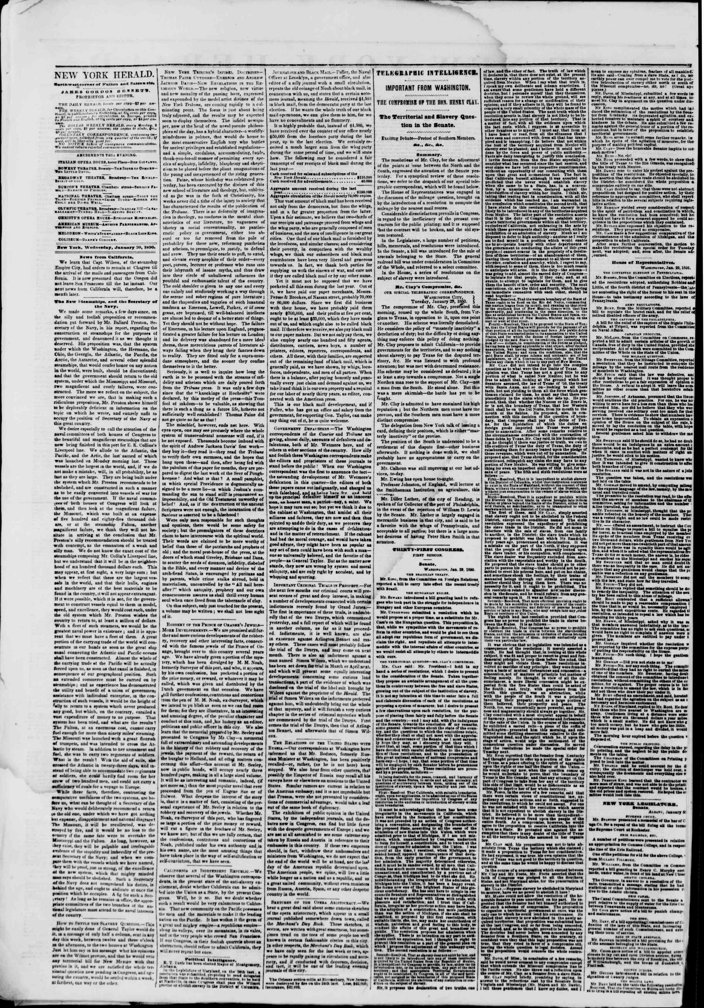 Newspaper of The New York Herald dated January 30, 1850 Page 2
