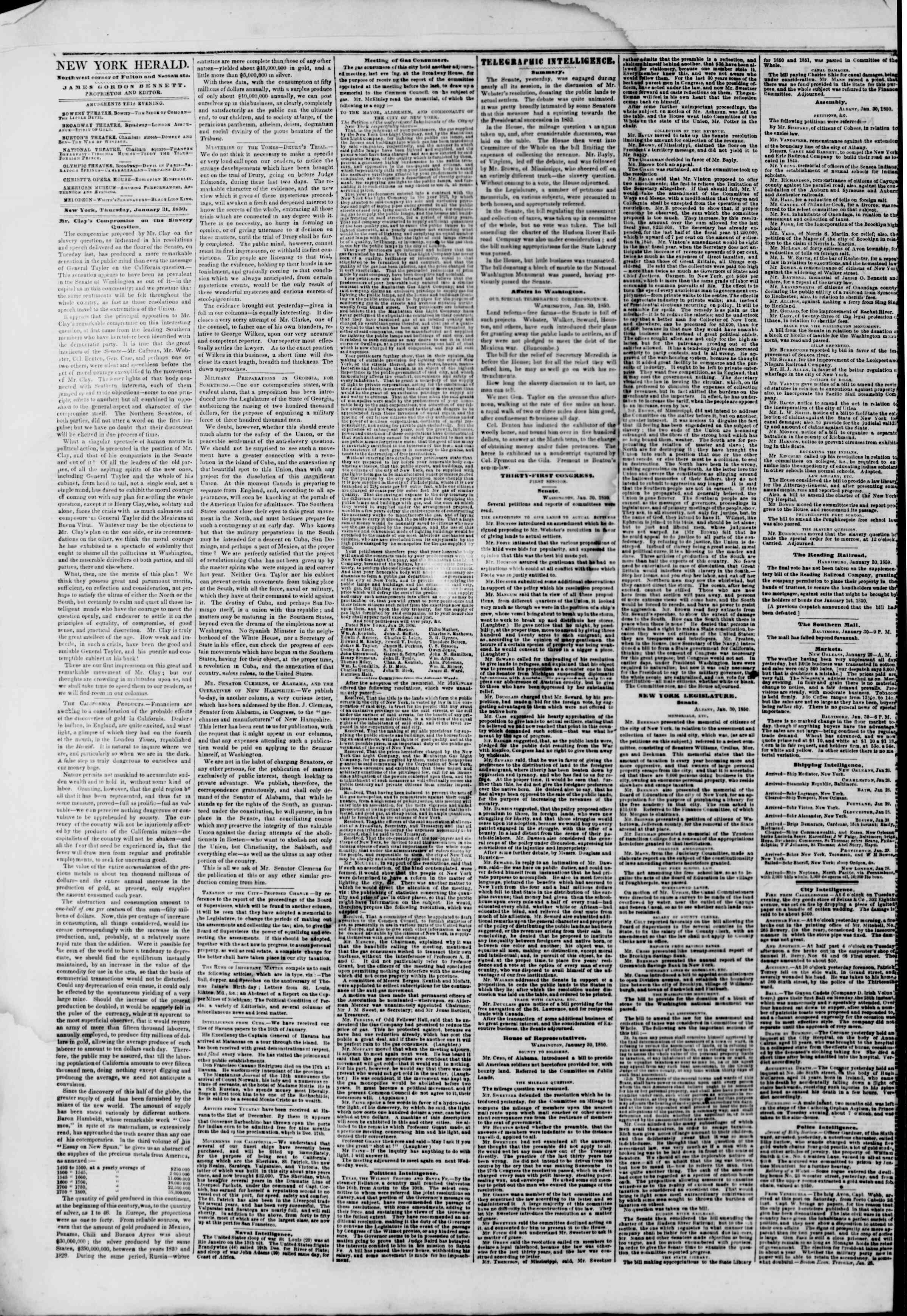 Newspaper of The New York Herald dated January 31, 1850 Page 2