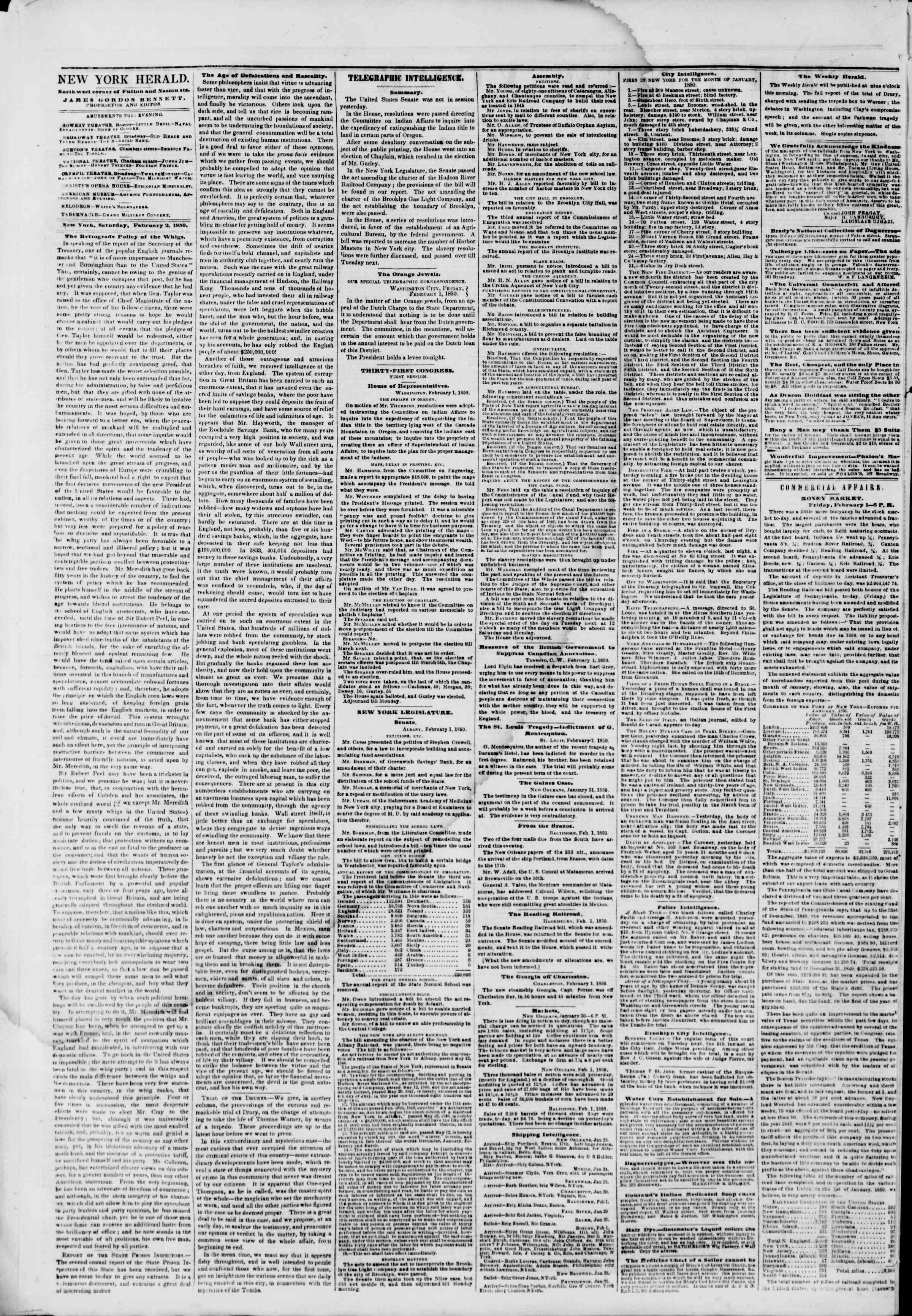 Newspaper of The New York Herald dated February 2, 1850 Page 2