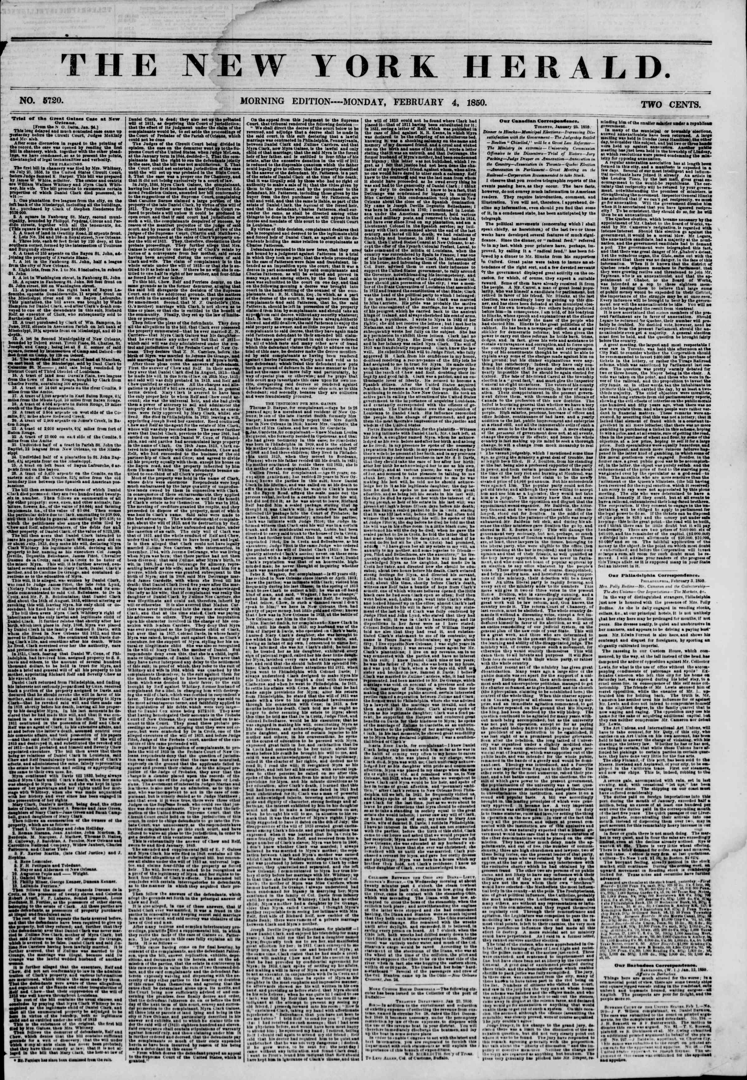 Newspaper of The New York Herald dated February 4, 1850 Page 1