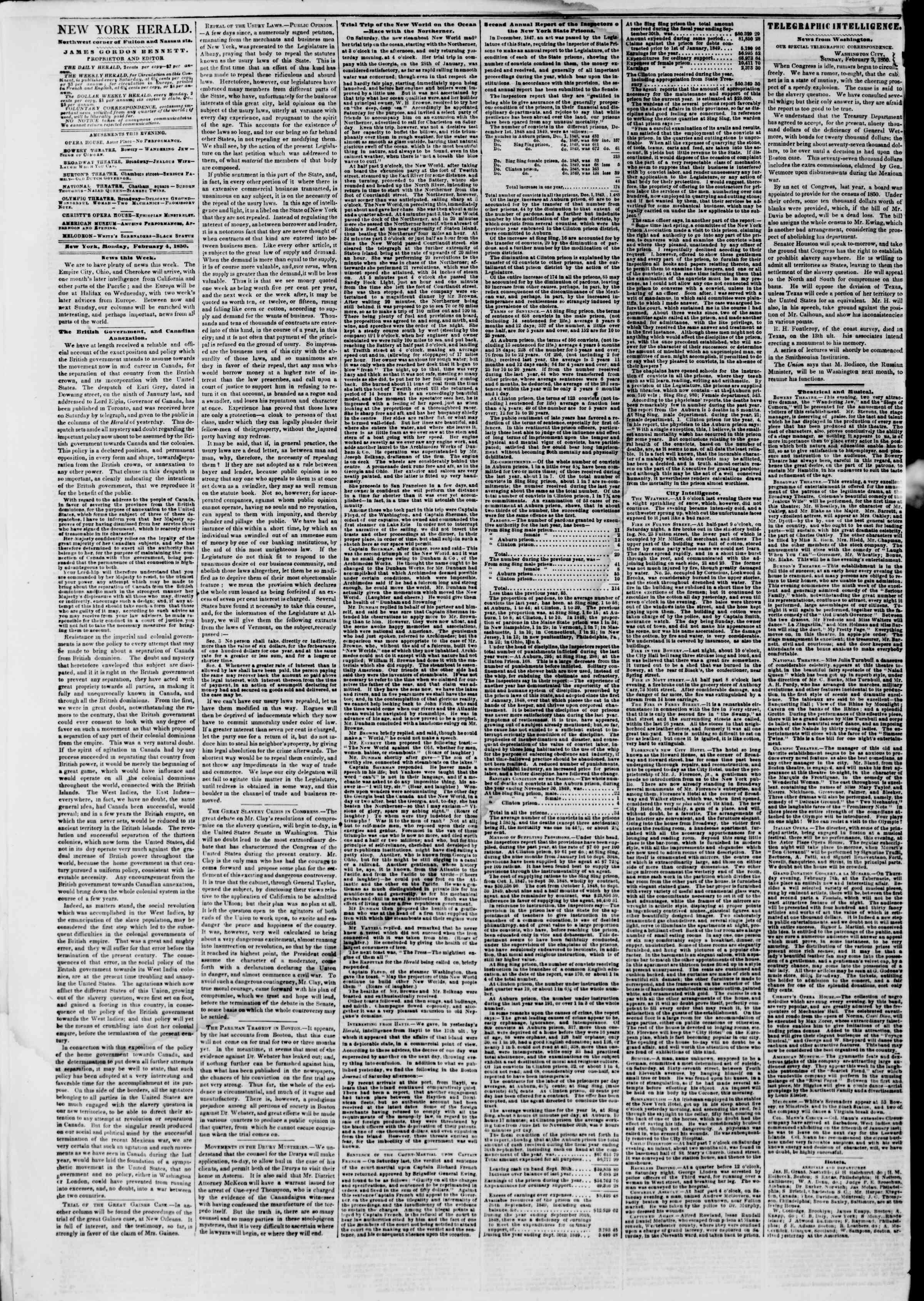 Newspaper of The New York Herald dated February 4, 1850 Page 2