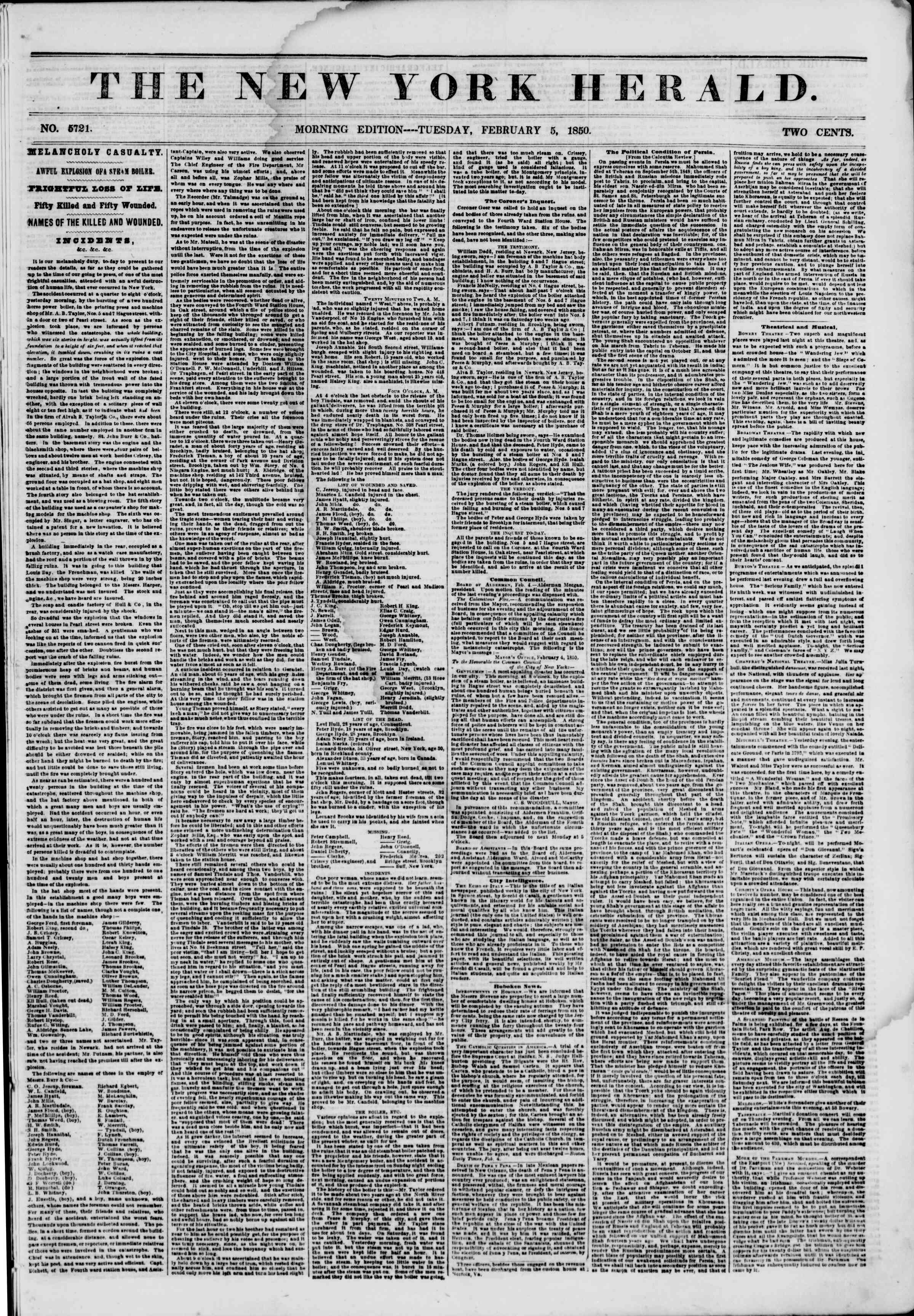 Newspaper of The New York Herald dated February 5, 1850 Page 1
