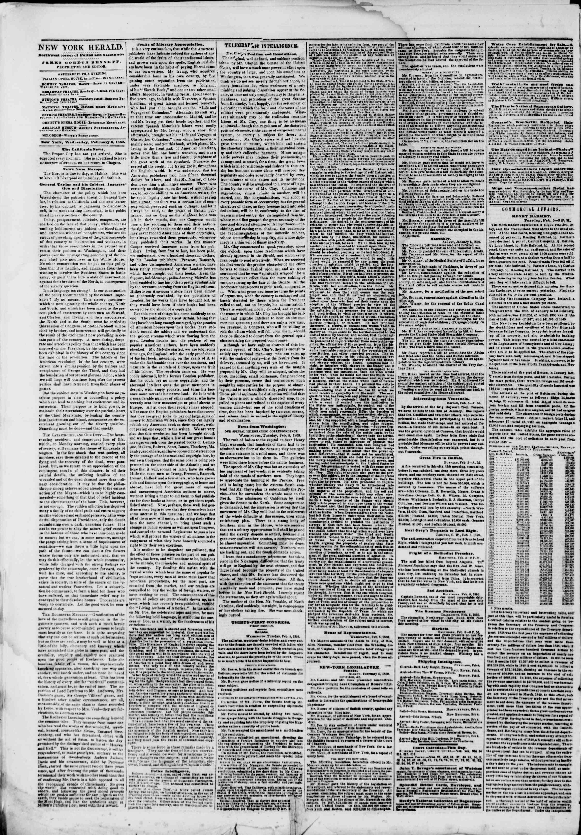 Newspaper of The New York Herald dated February 6, 1850 Page 3