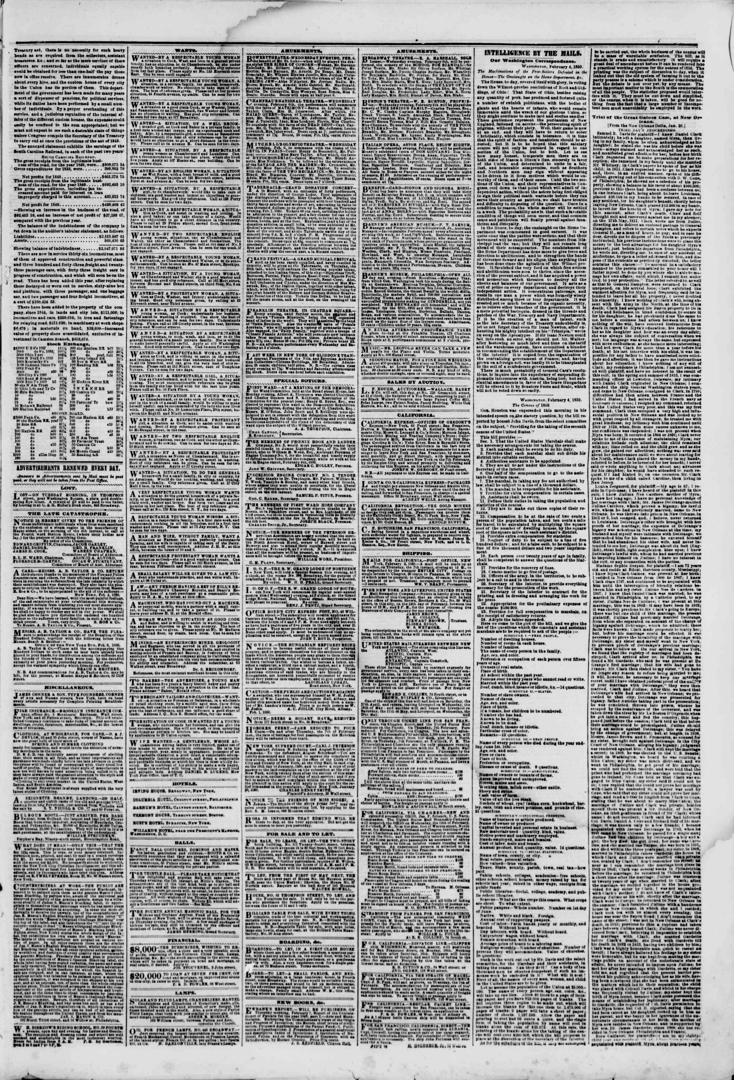 Newspaper of The New York Herald dated February 6, 1850 Page 4
