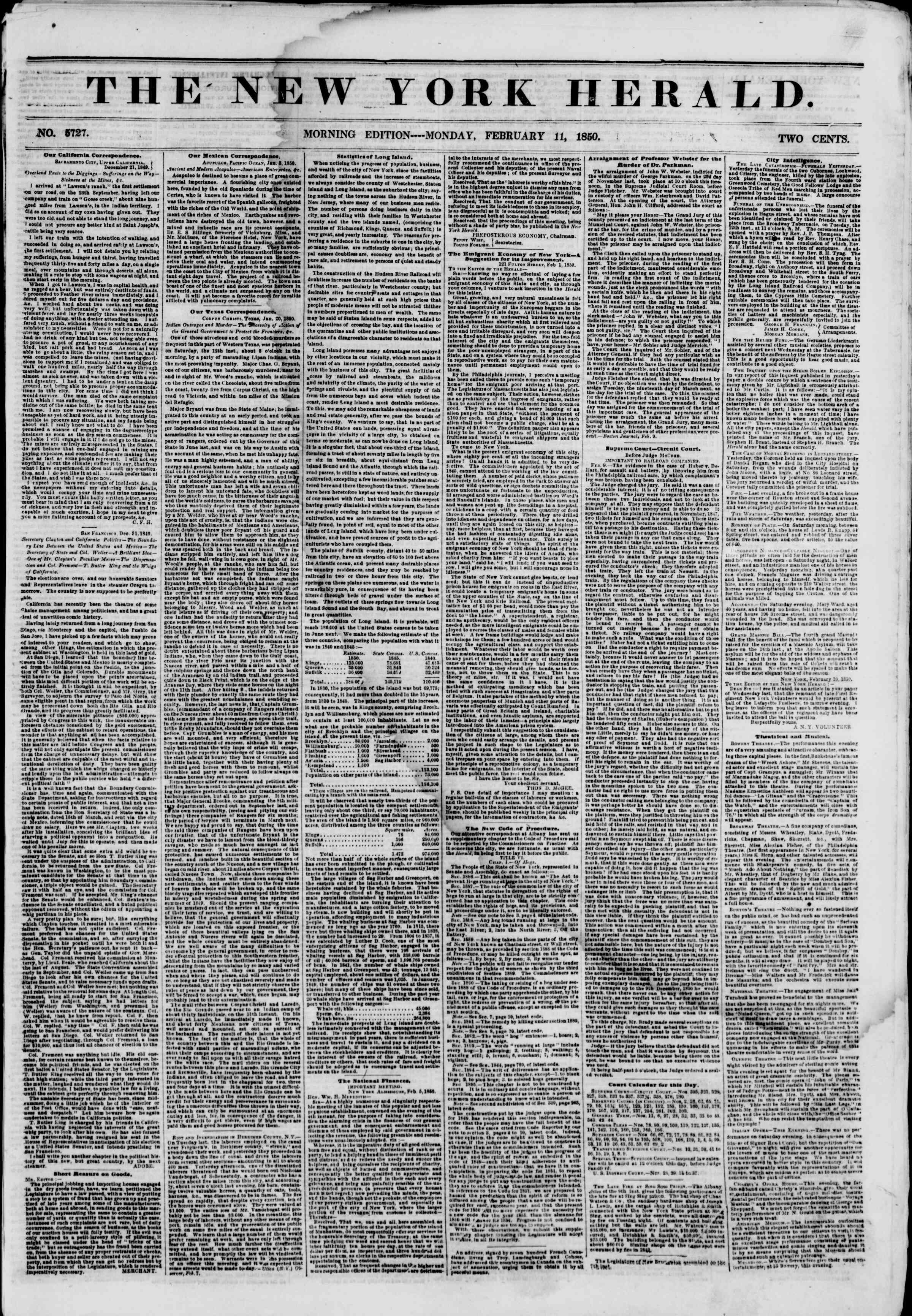 Newspaper of The New York Herald dated February 11, 1850 Page 1