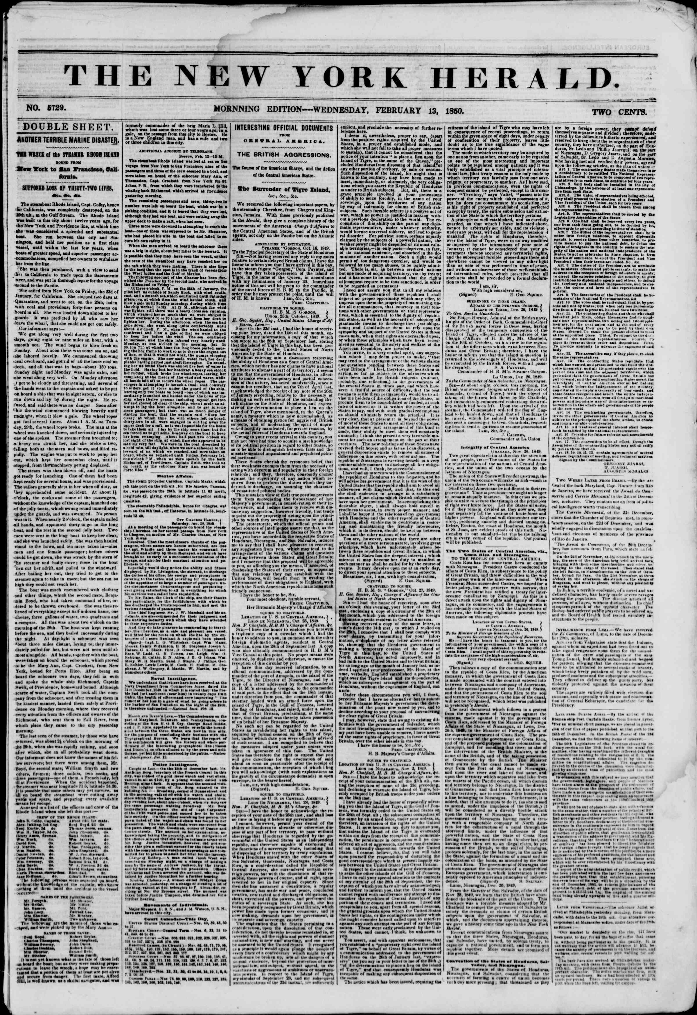 Newspaper of The New York Herald dated February 13, 1850 Page 1