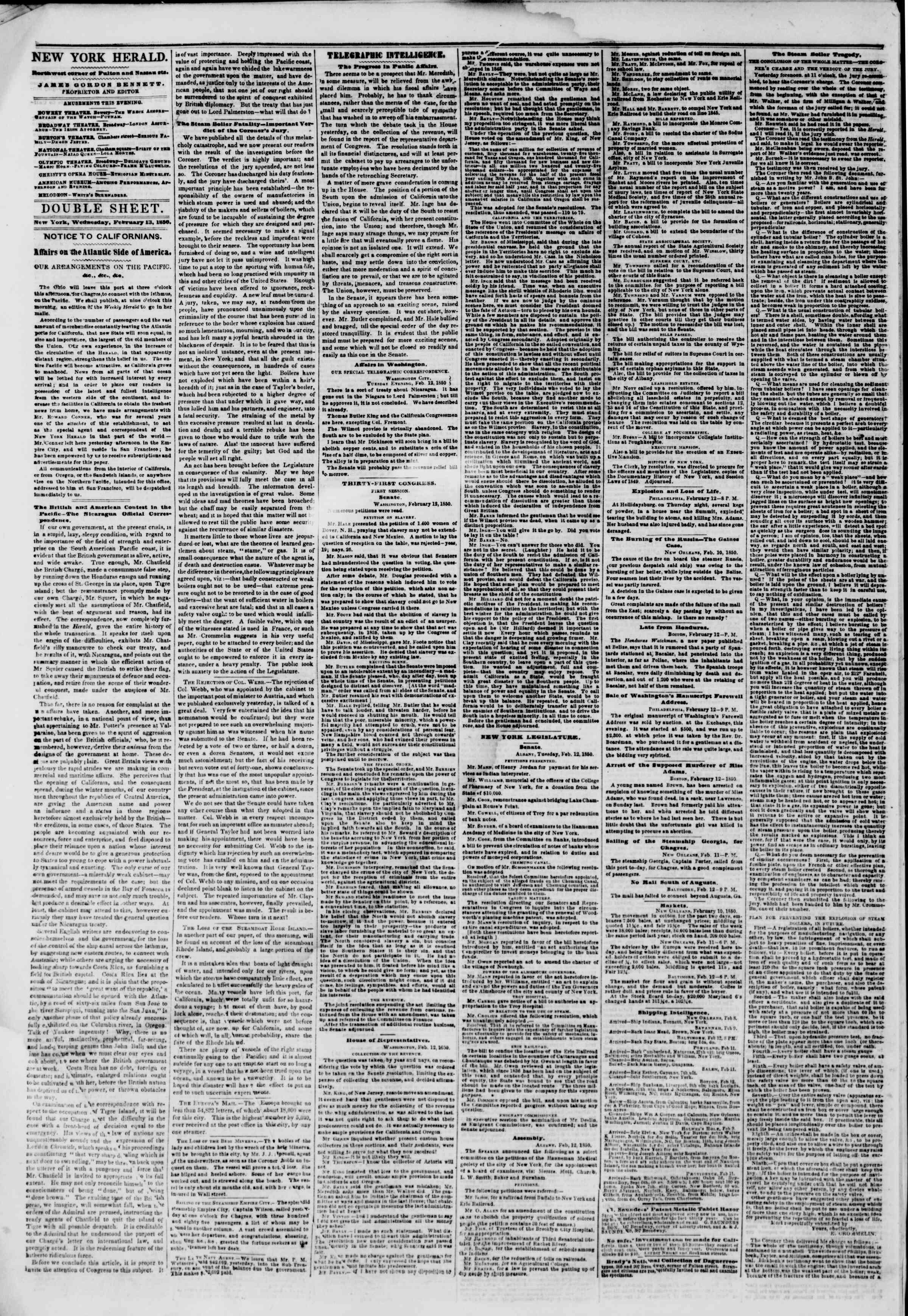 Newspaper of The New York Herald dated February 13, 1850 Page 4