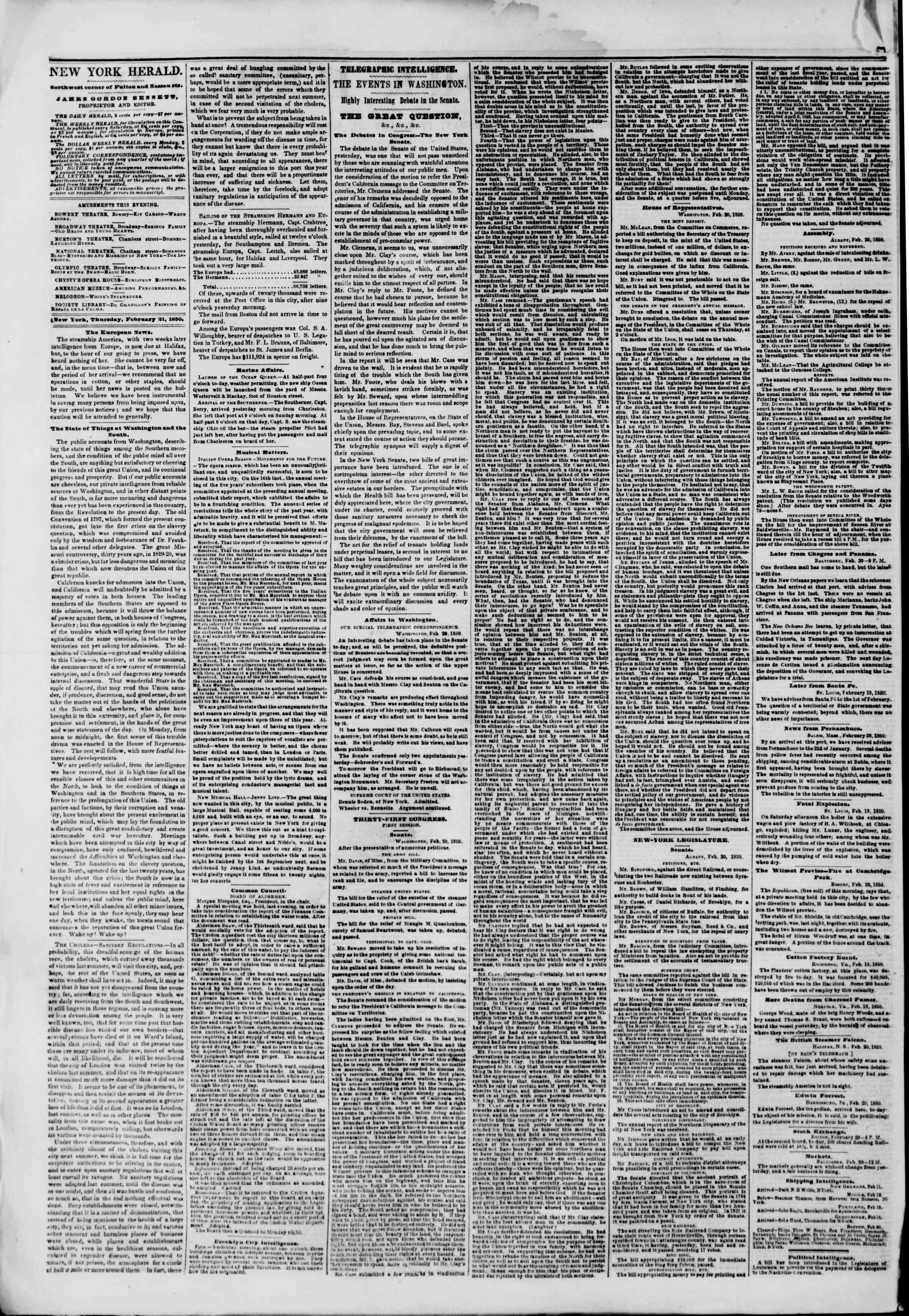 Newspaper of The New York Herald dated February 21, 1850 Page 2