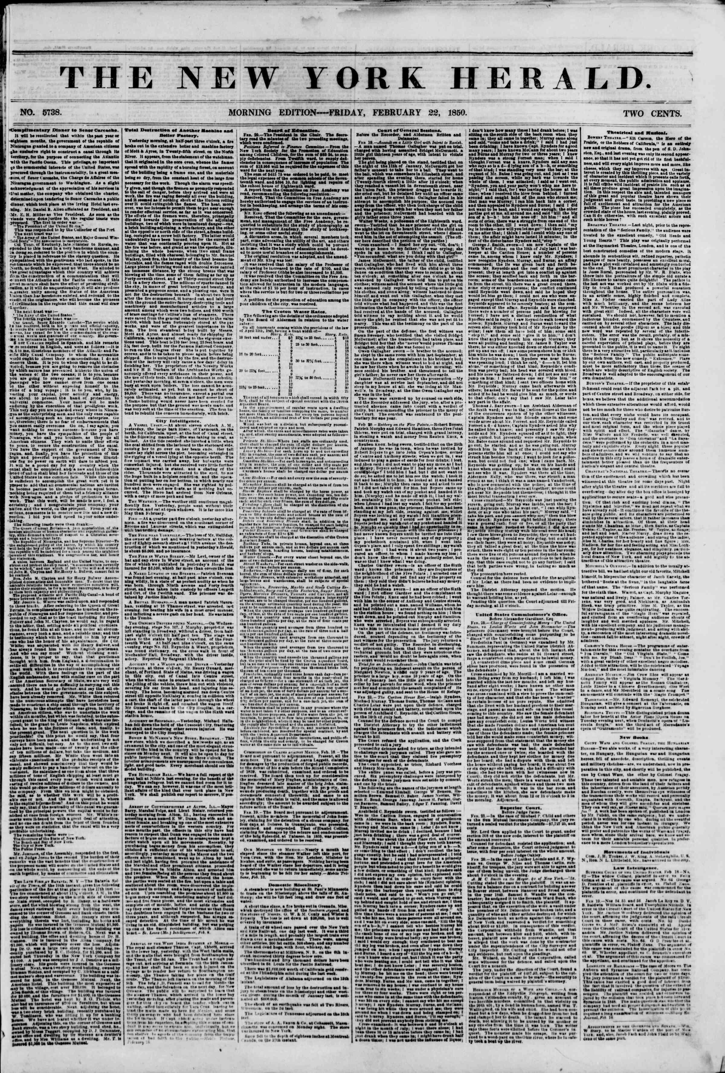 22 Şubat 1850 tarihli The New York Herald Gazetesi Sayfa 1