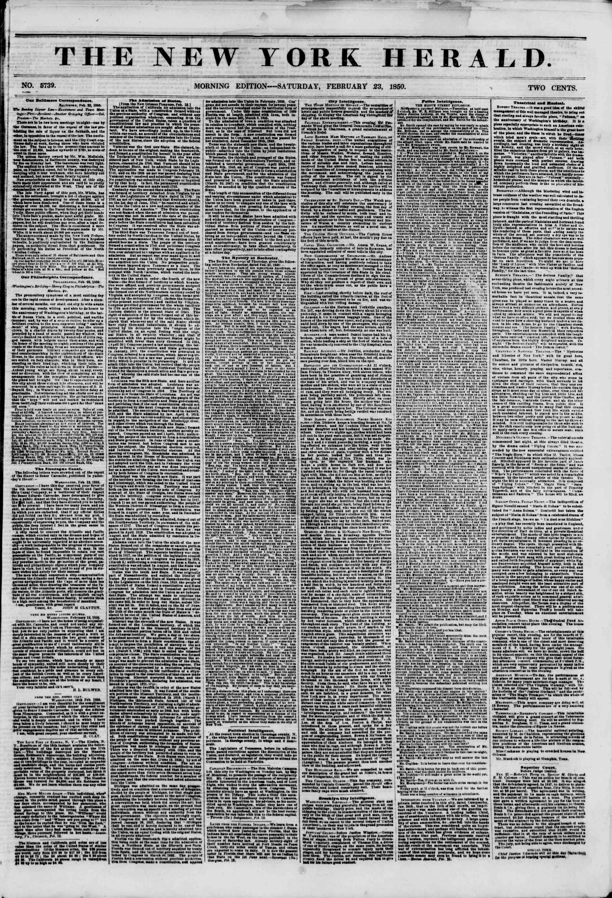 Newspaper of The New York Herald dated February 23, 1850 Page 1