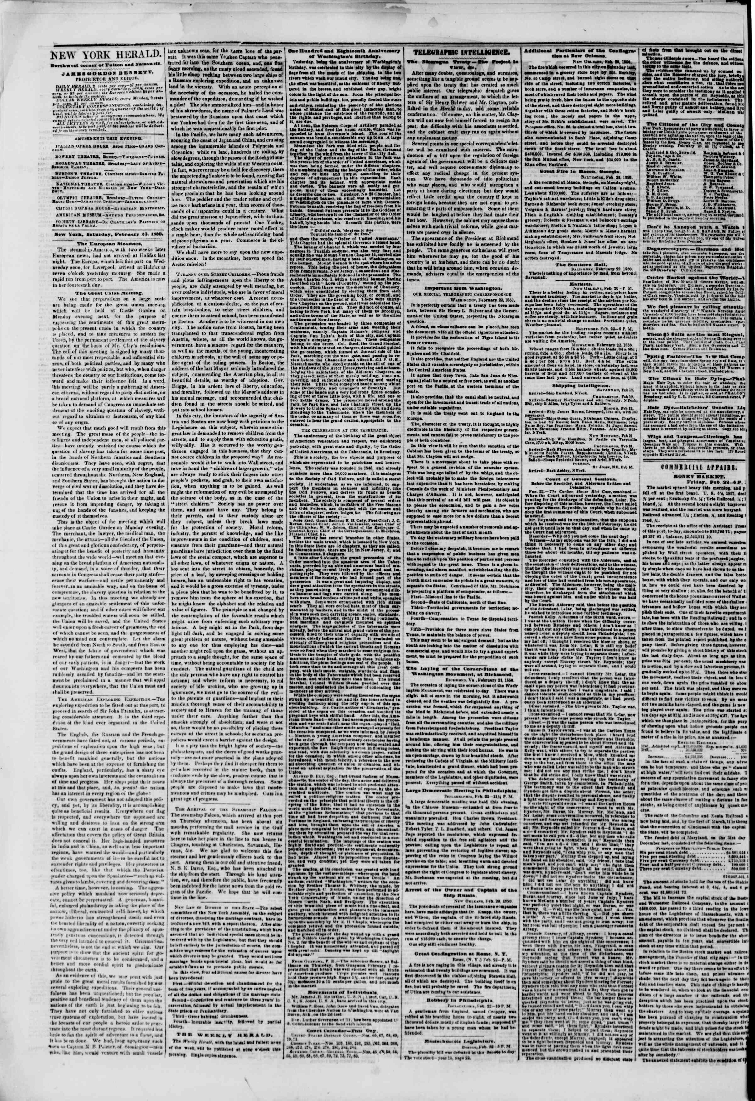 Newspaper of The New York Herald dated February 23, 1850 Page 2