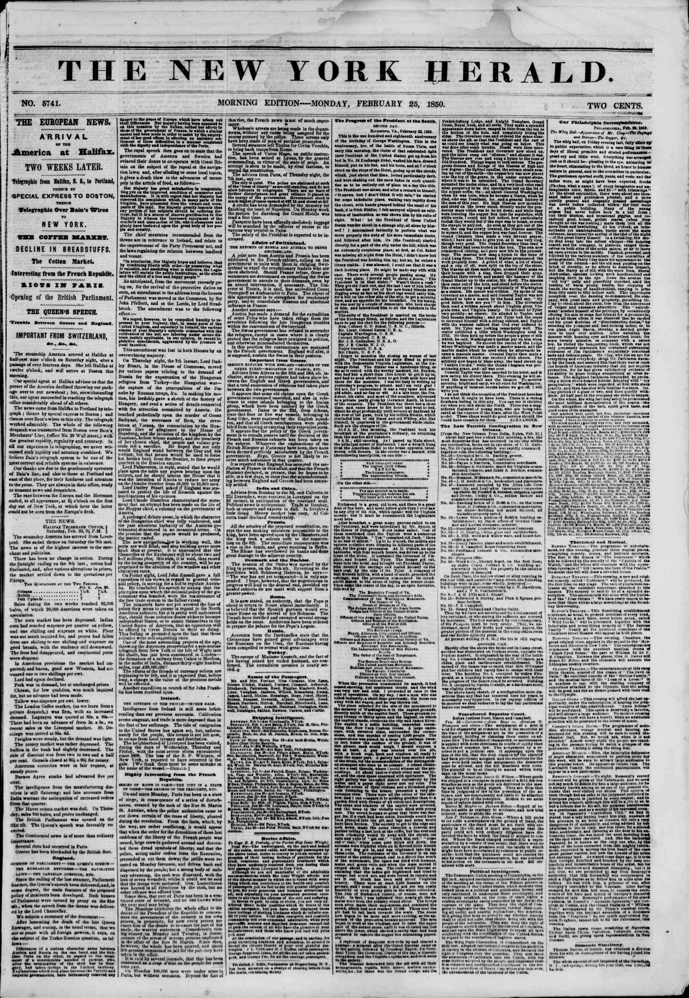 Newspaper of The New York Herald dated February 25, 1850 Page 1
