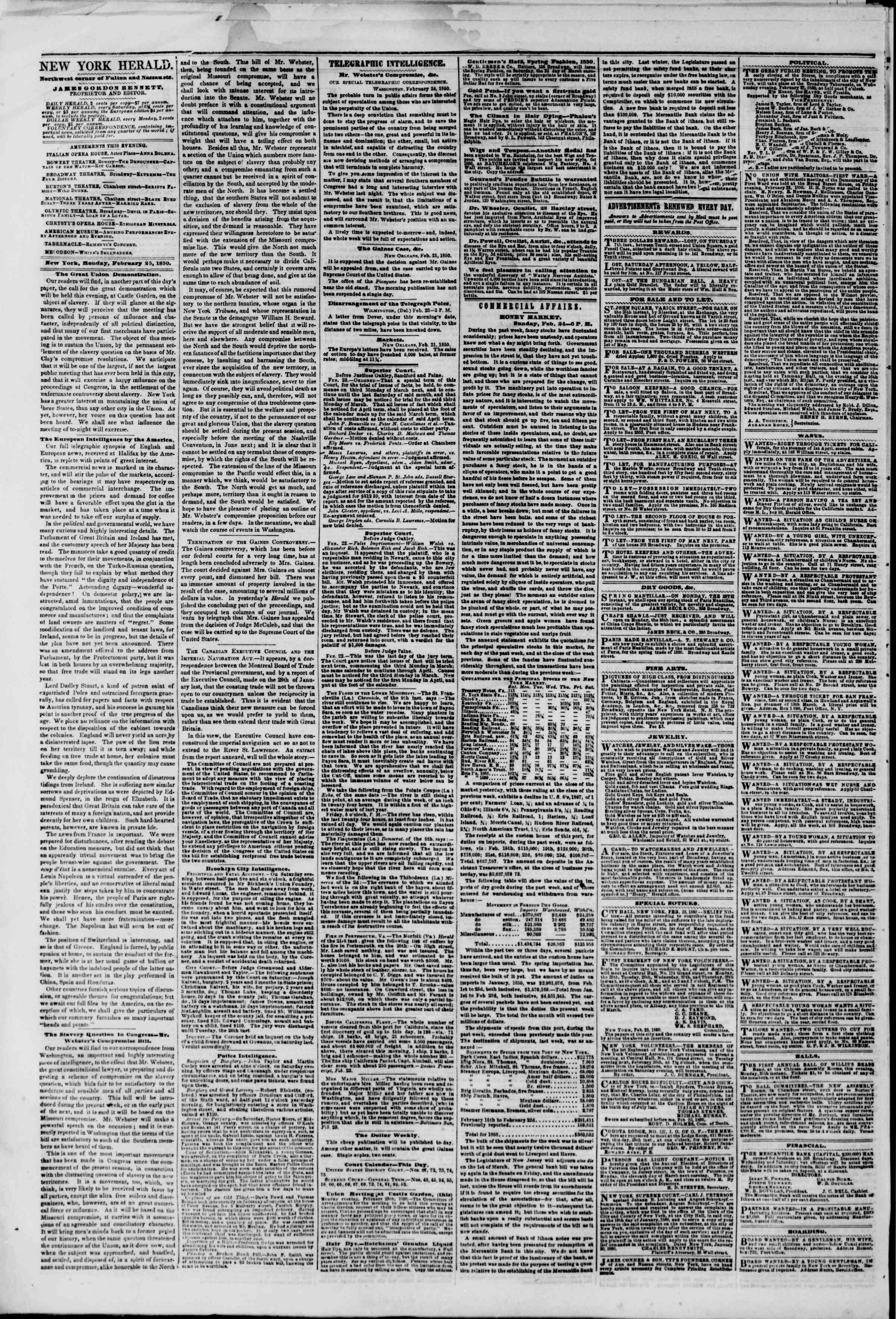 Newspaper of The New York Herald dated February 25, 1850 Page 2
