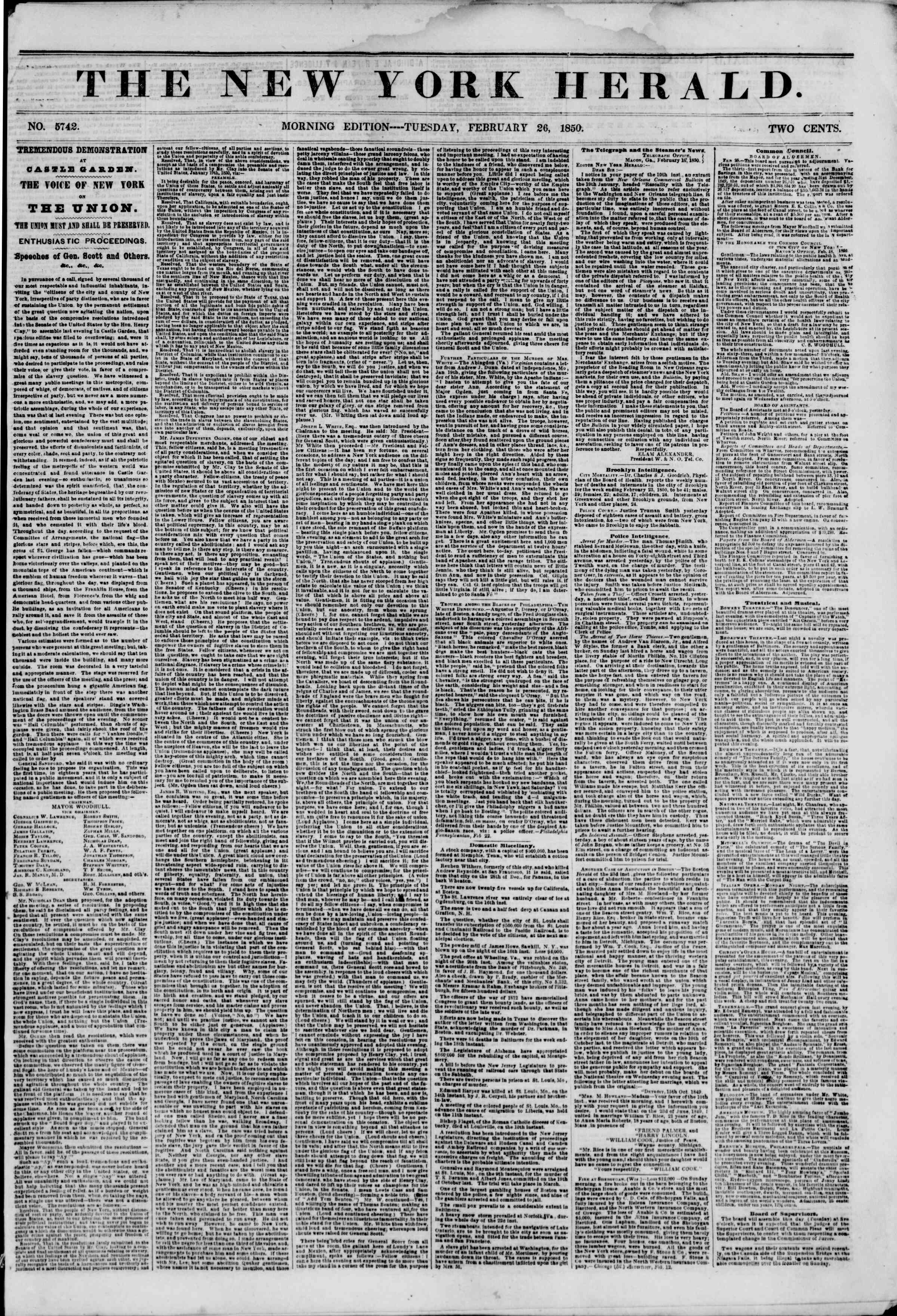 Newspaper of The New York Herald dated February 26, 1850 Page 1