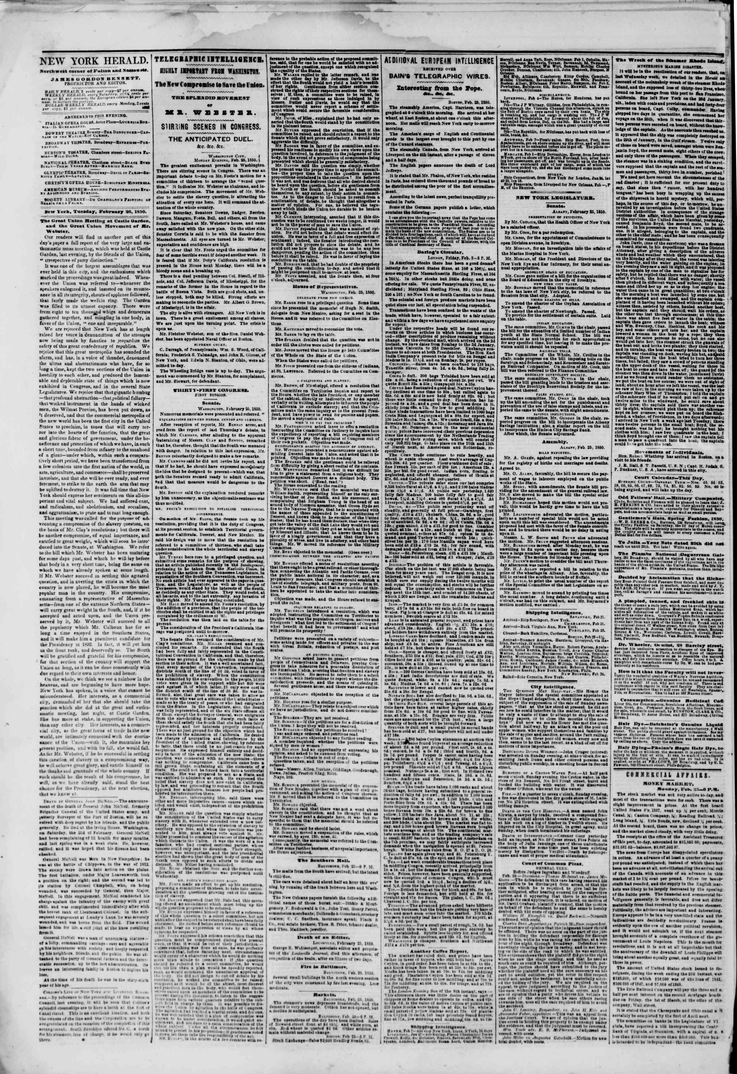 Newspaper of The New York Herald dated February 26, 1850 Page 2