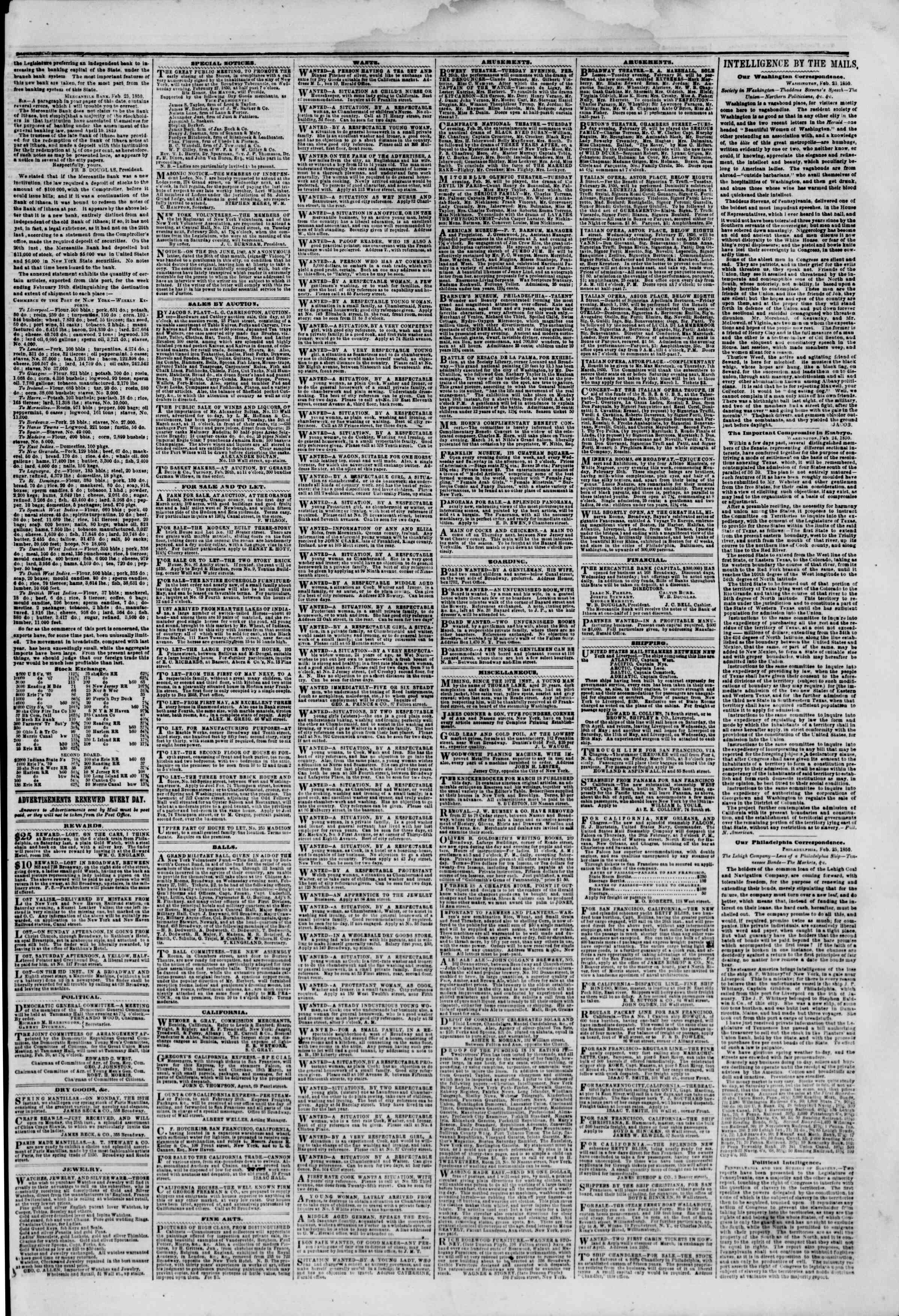 Newspaper of The New York Herald dated February 26, 1850 Page 3