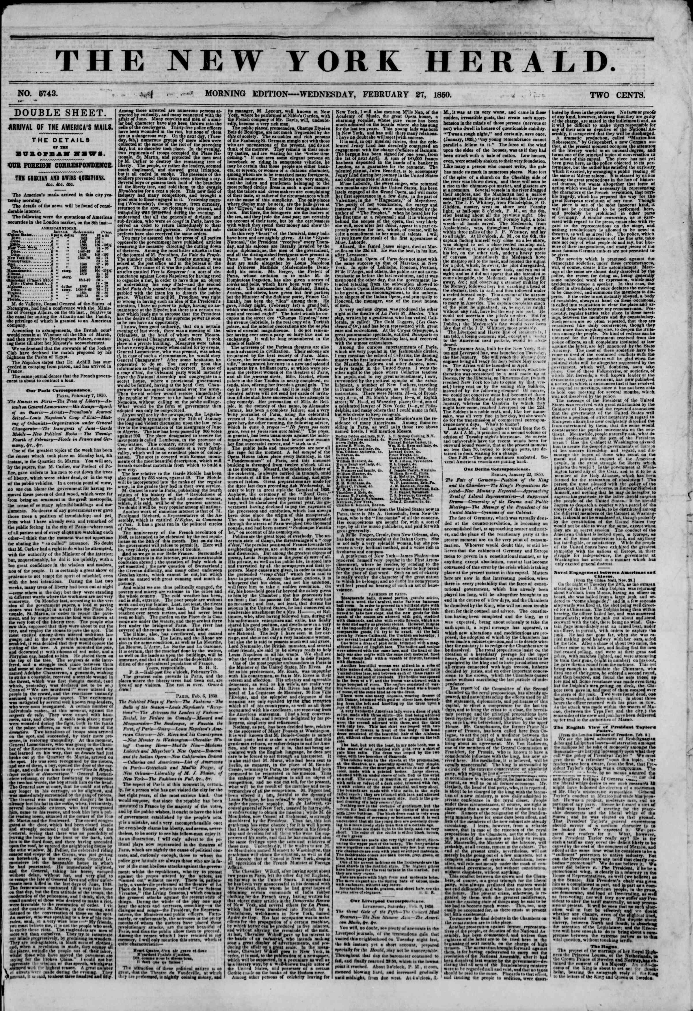 Newspaper of The New York Herald dated February 27, 1850 Page 1
