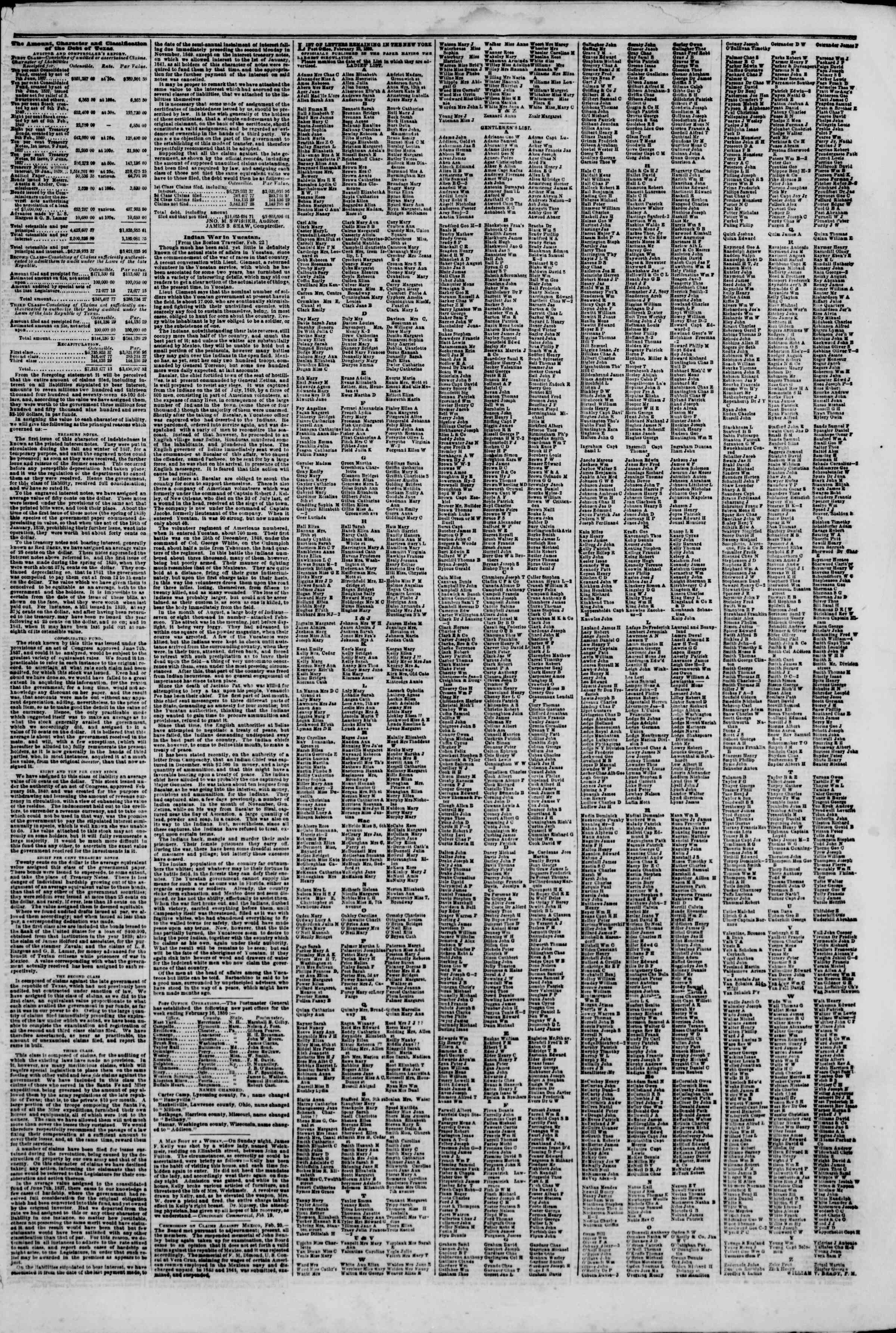 Newspaper of The New York Herald dated February 27, 1850 Page 7