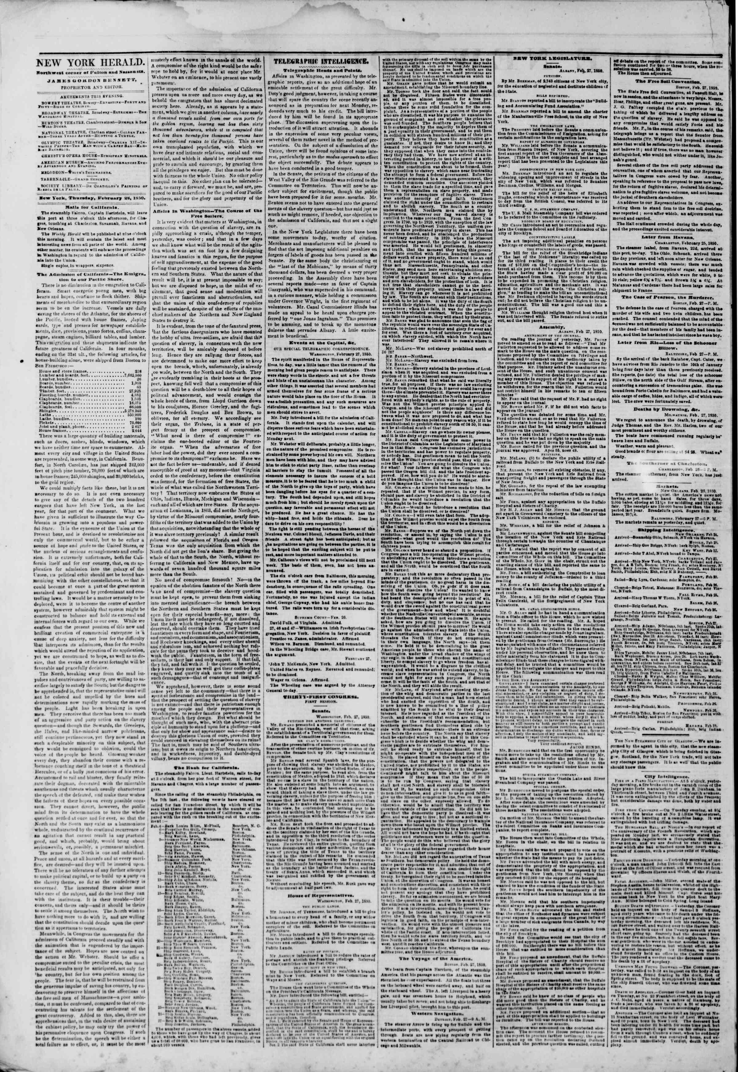 Newspaper of The New York Herald dated February 28, 1850 Page 2