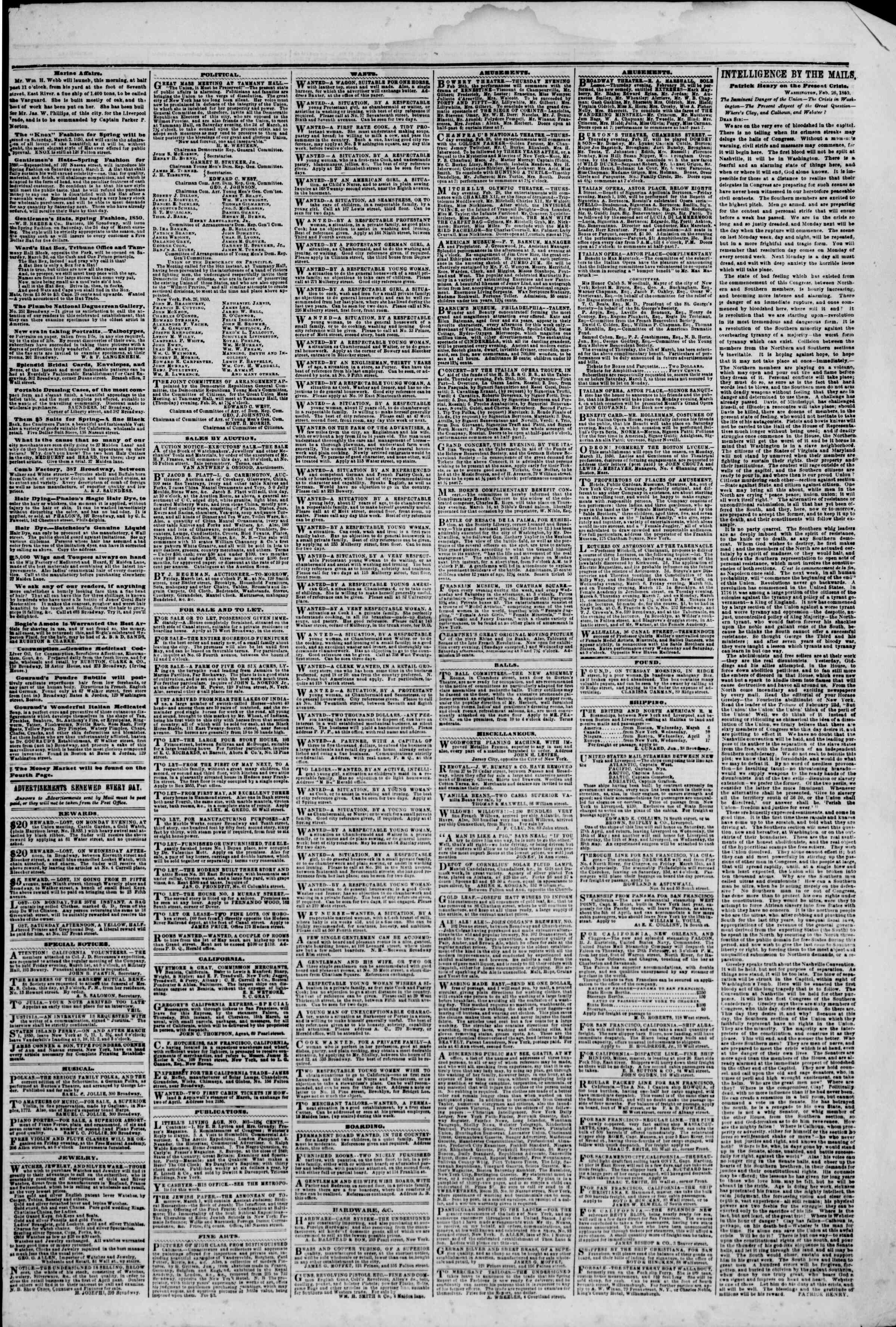 Newspaper of The New York Herald dated February 28, 1850 Page 3
