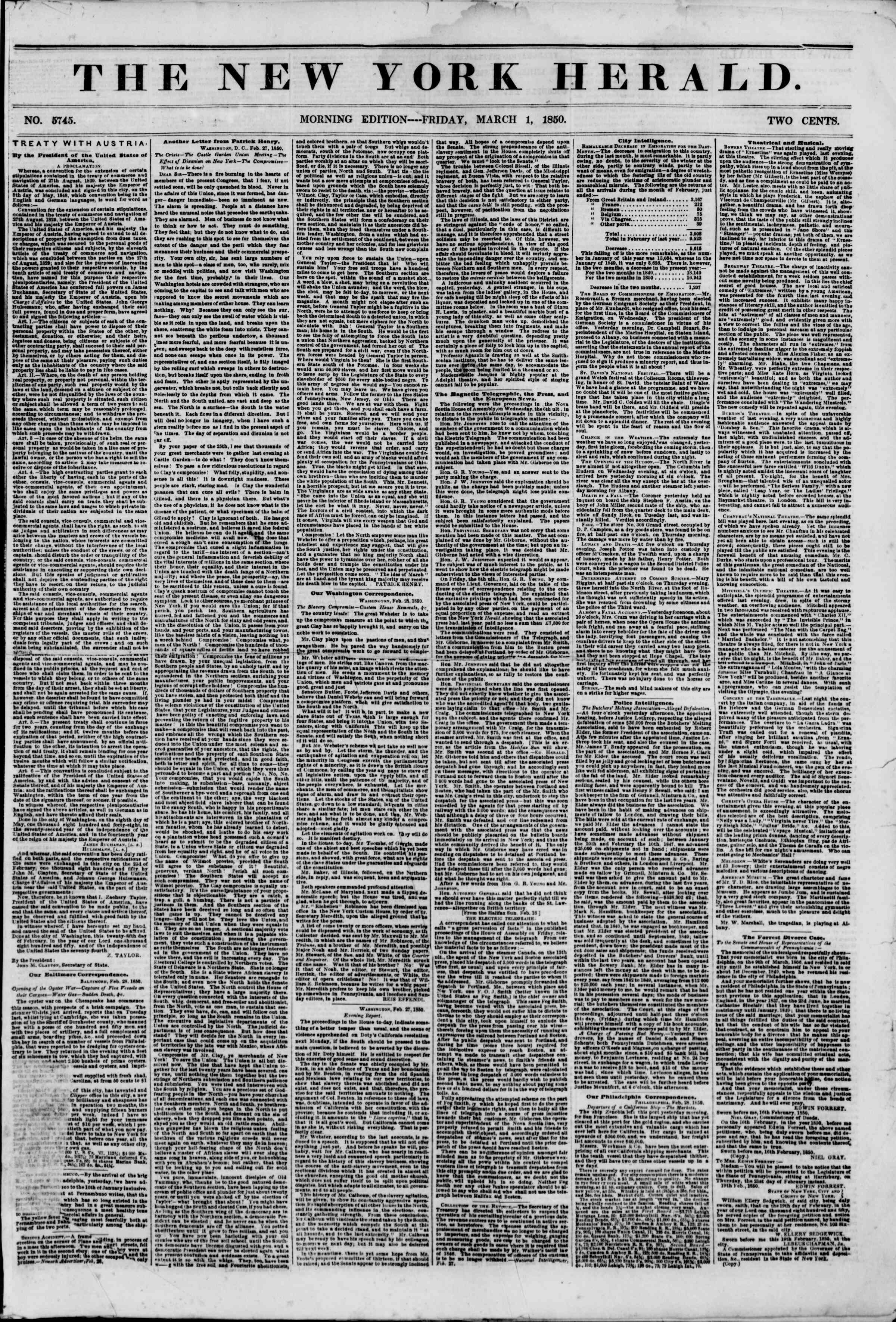 Newspaper of The New York Herald dated March 1, 1850 Page 1