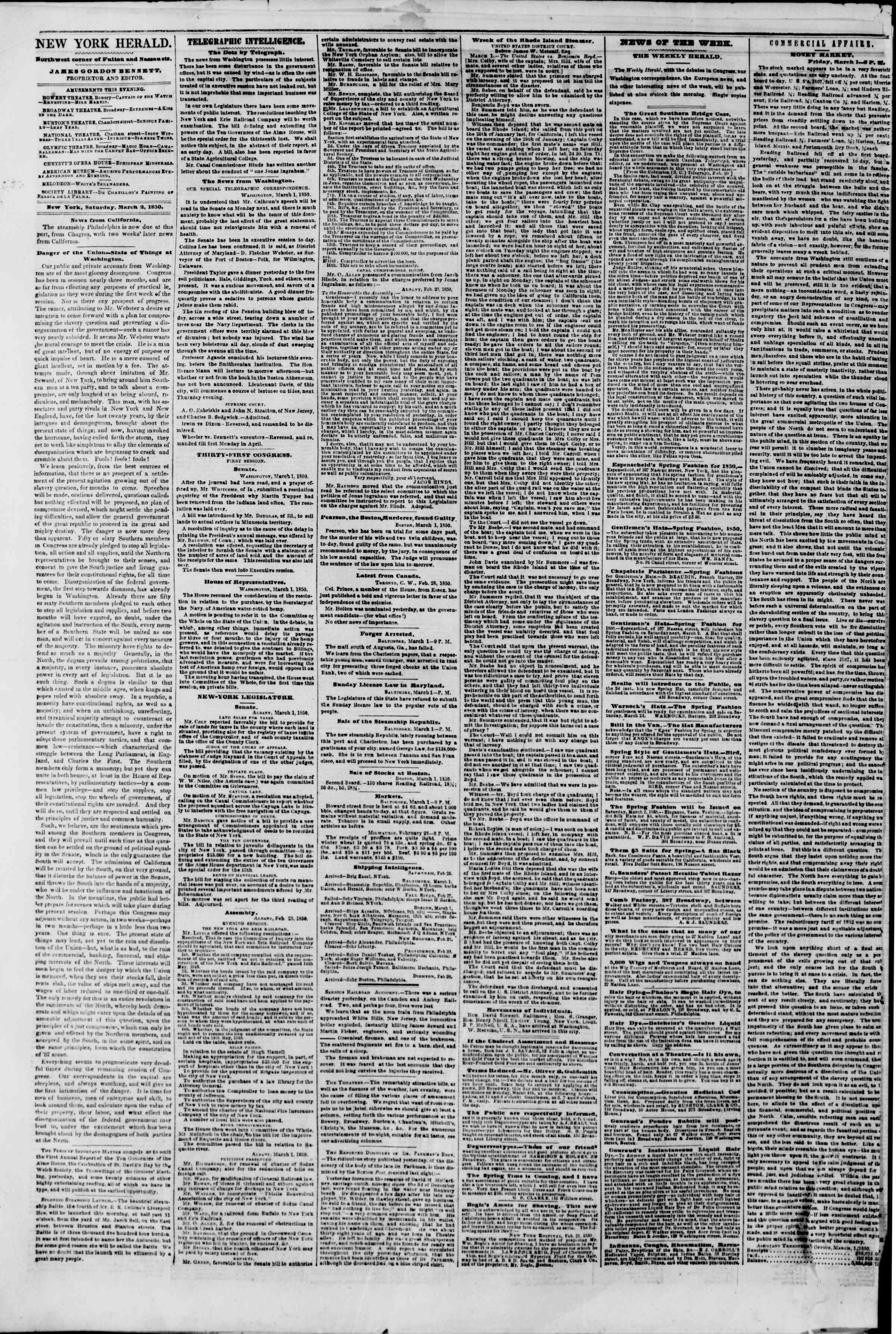 Newspaper of The New York Herald dated March 2, 1850 Page 2