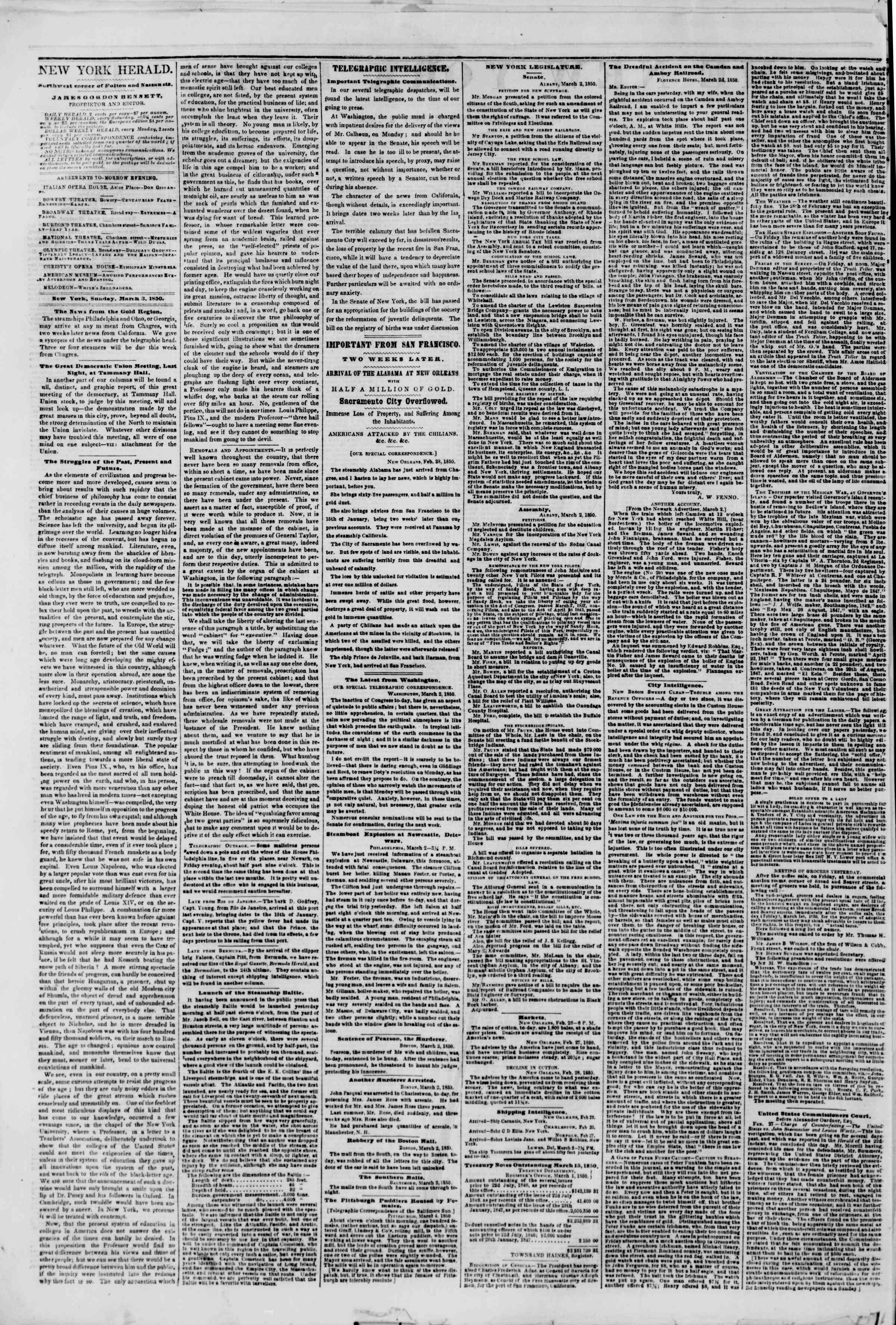 Newspaper of The New York Herald dated March 3, 1850 Page 2