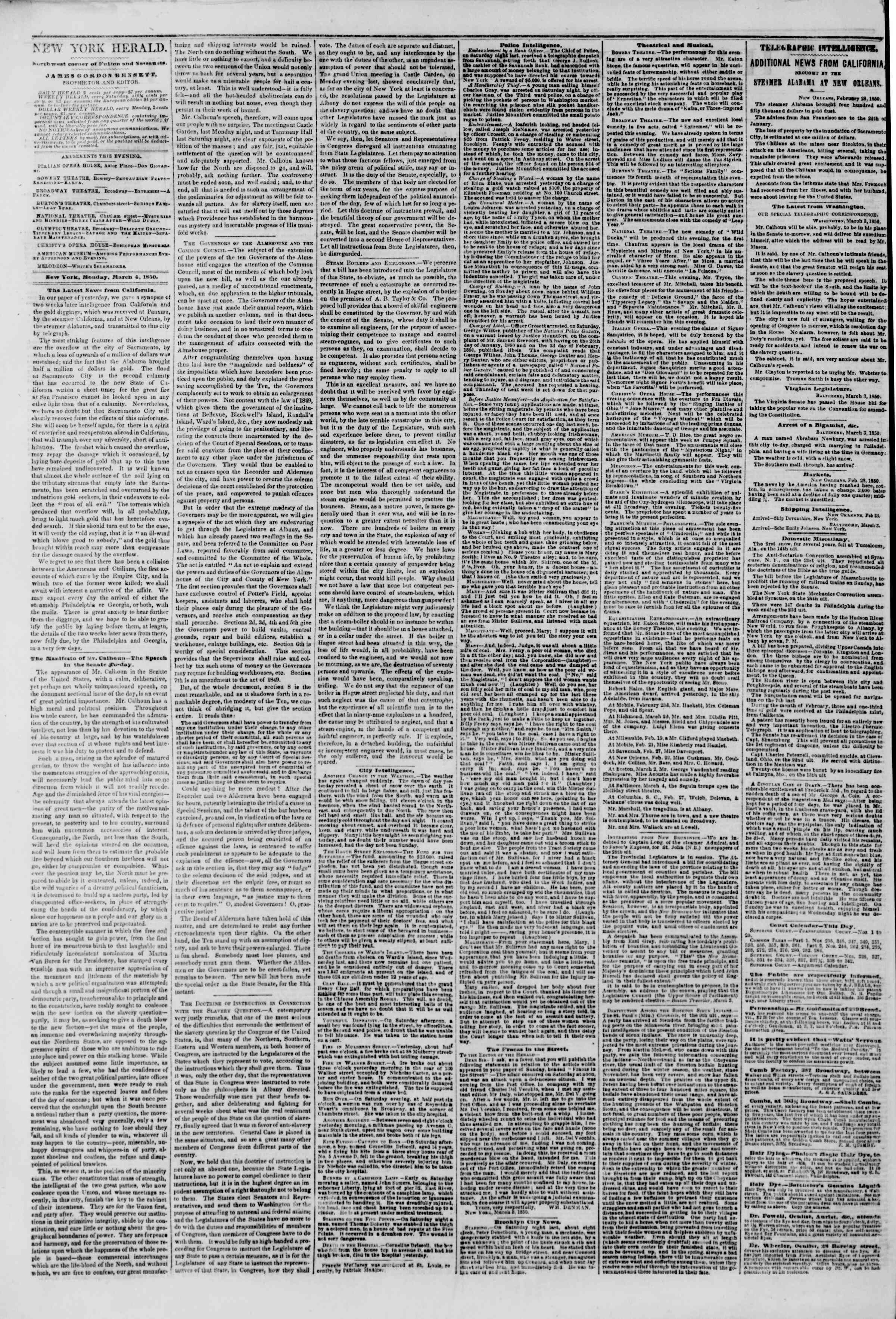Newspaper of The New York Herald dated March 4, 1850 Page 2