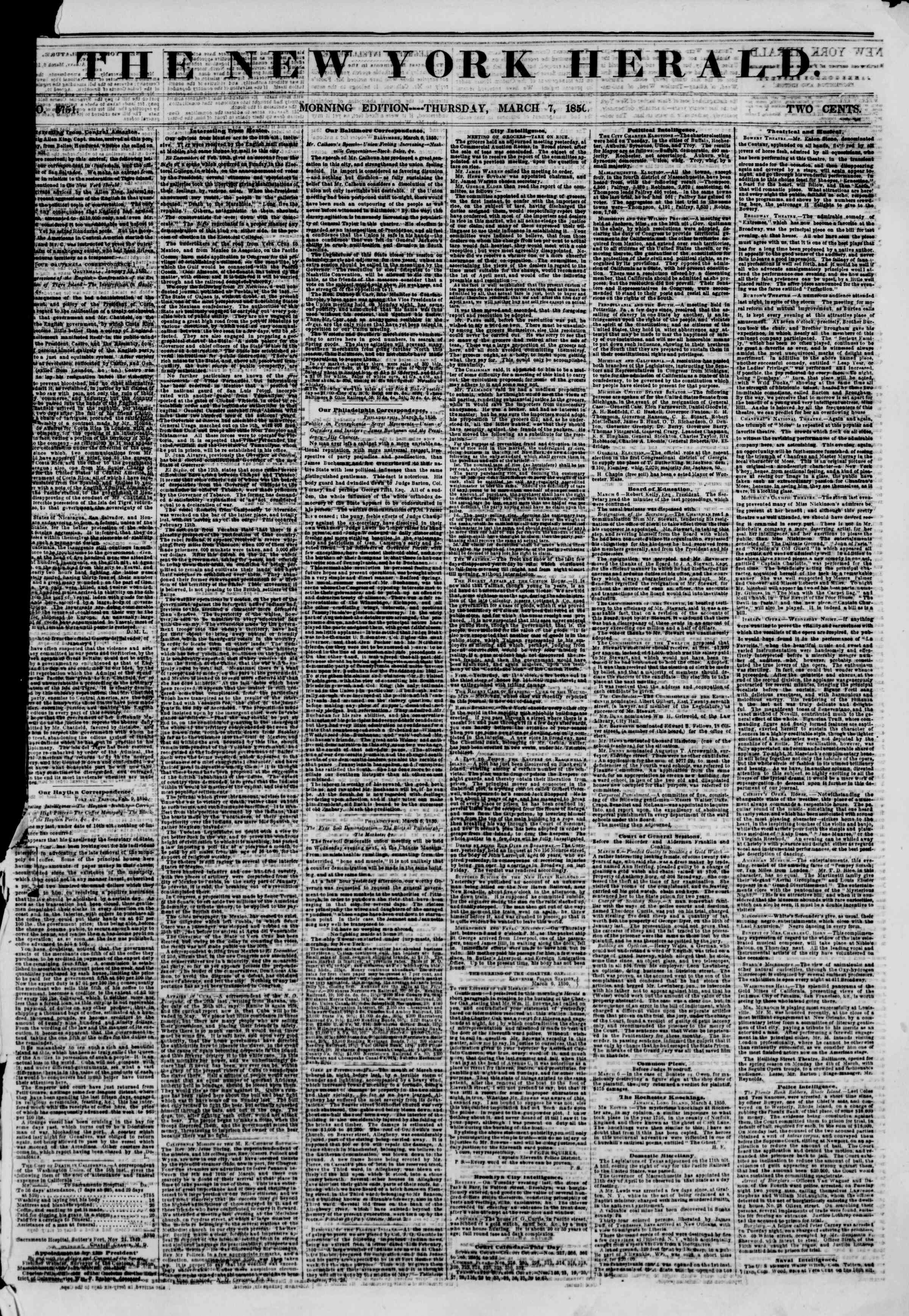 Newspaper of The New York Herald dated March 7, 1850 Page 1