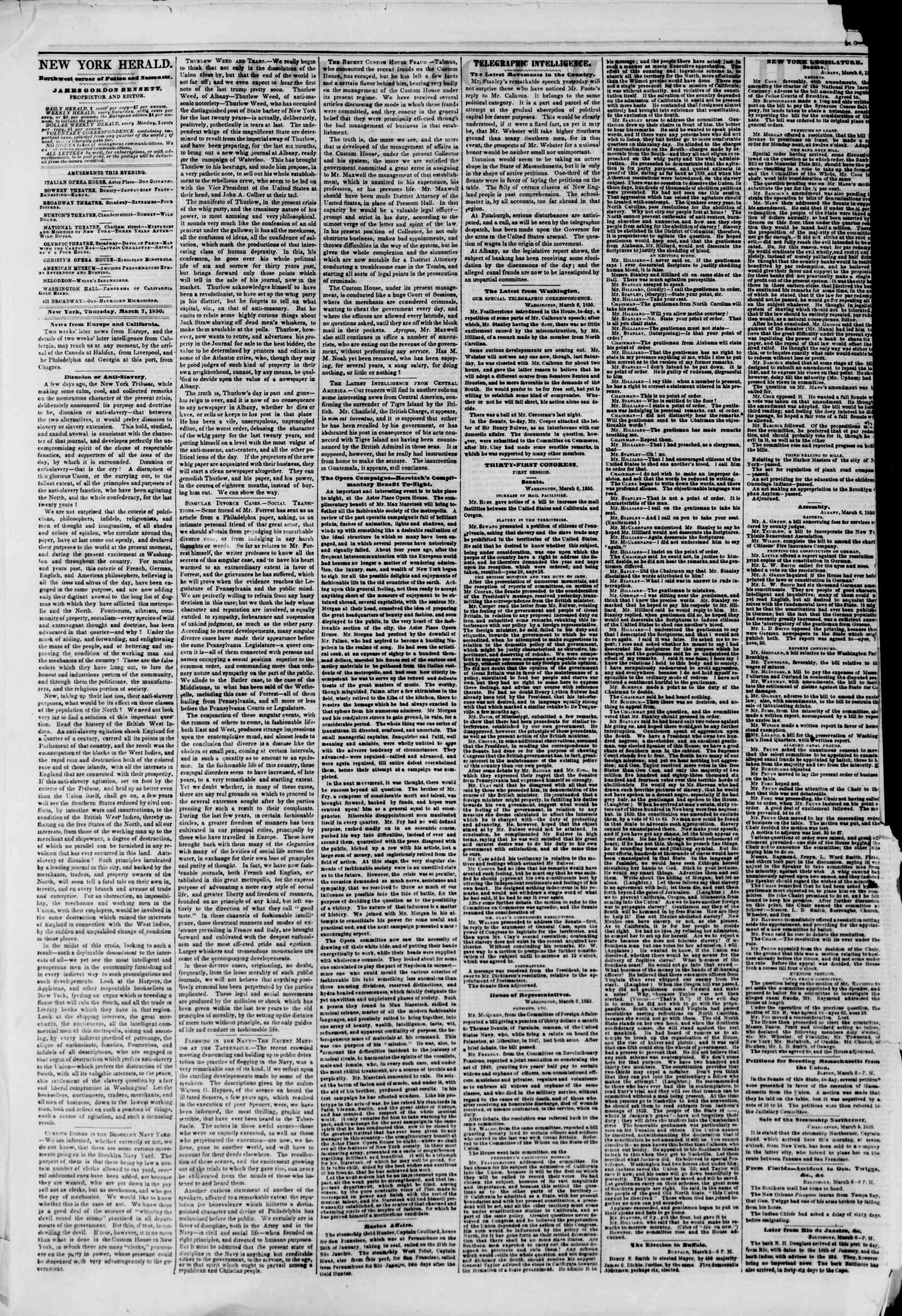 Newspaper of The New York Herald dated March 7, 1850 Page 2