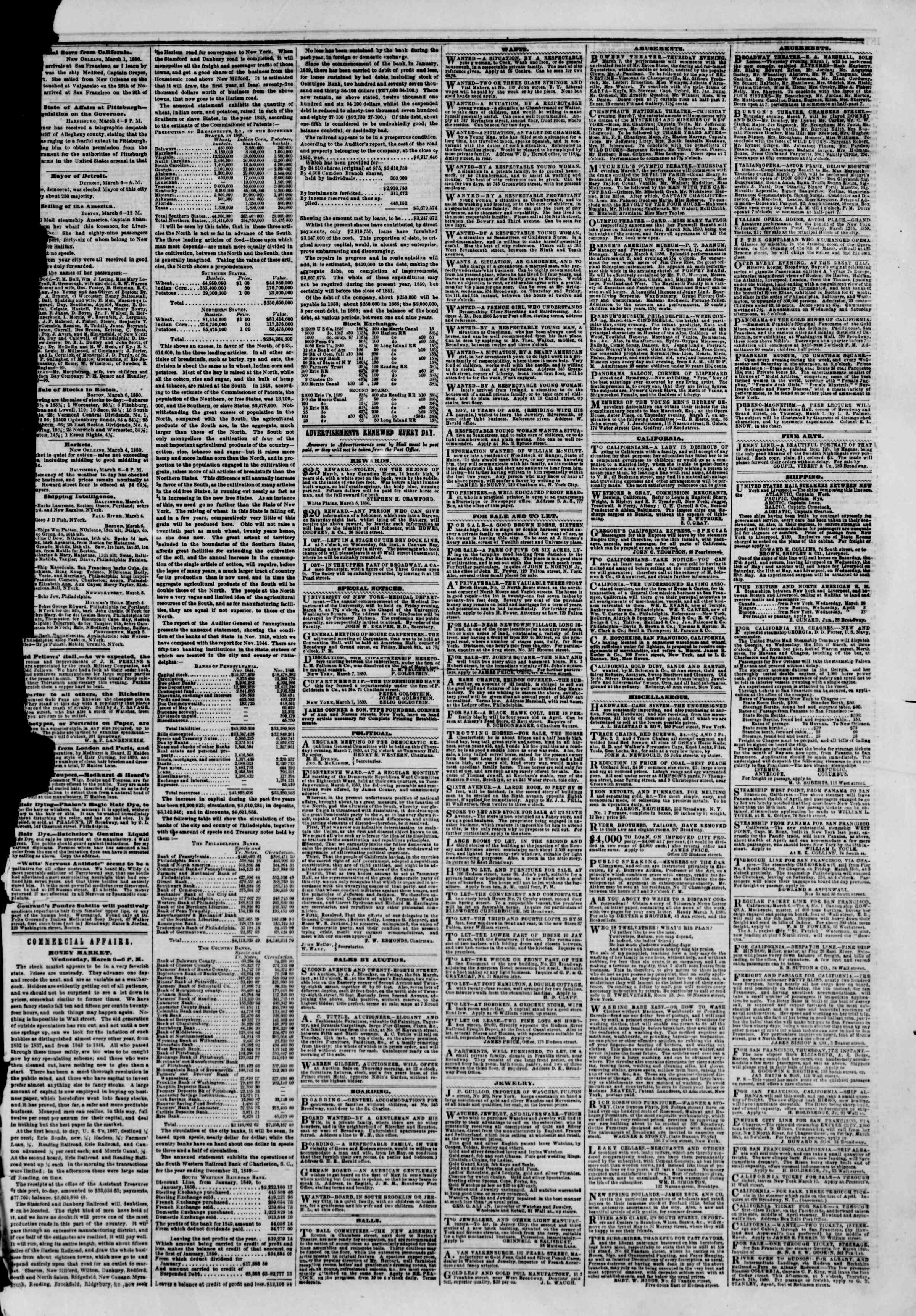 Newspaper of The New York Herald dated March 7, 1850 Page 3