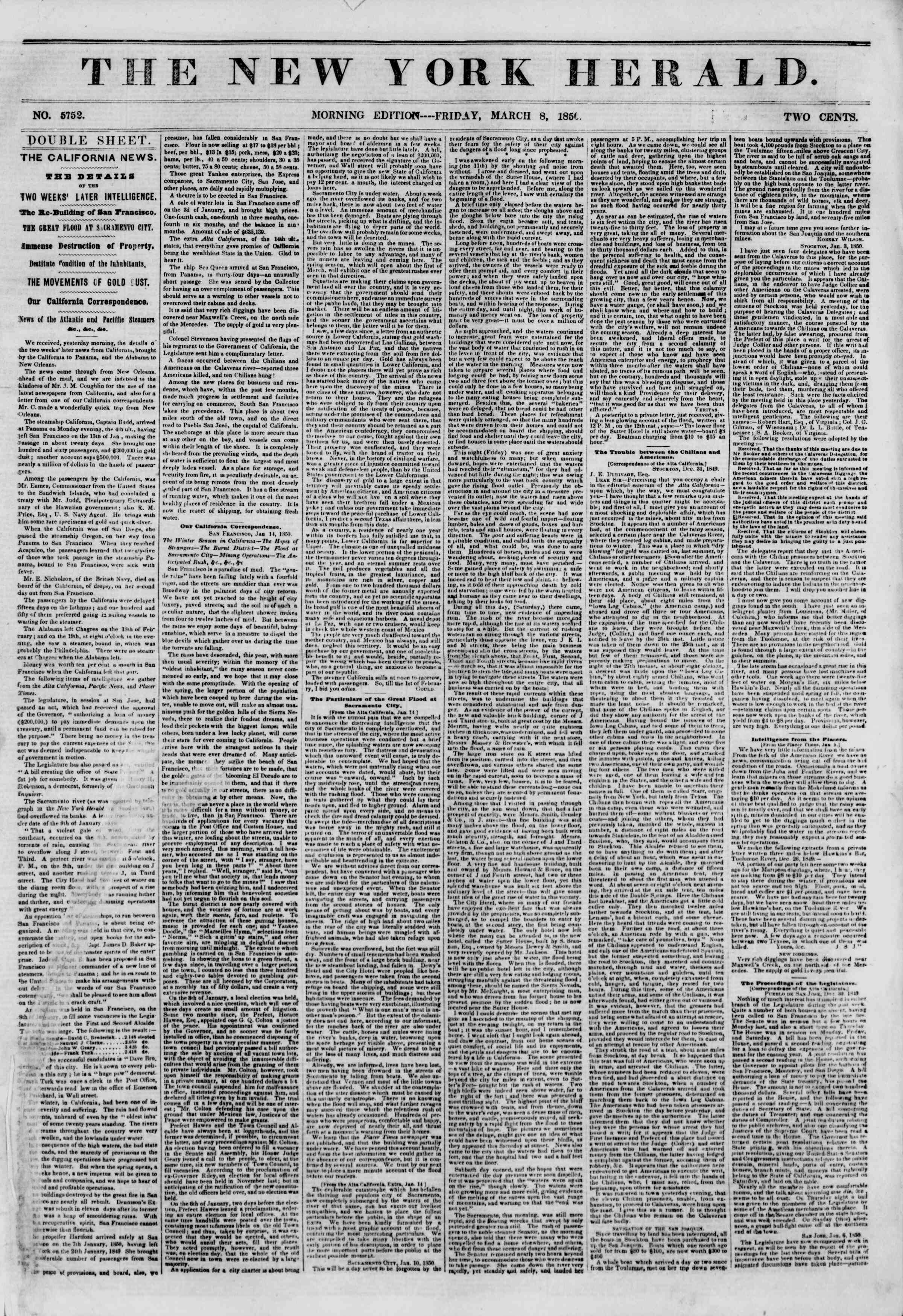 Newspaper of The New York Herald dated March 8, 1850 Page 1