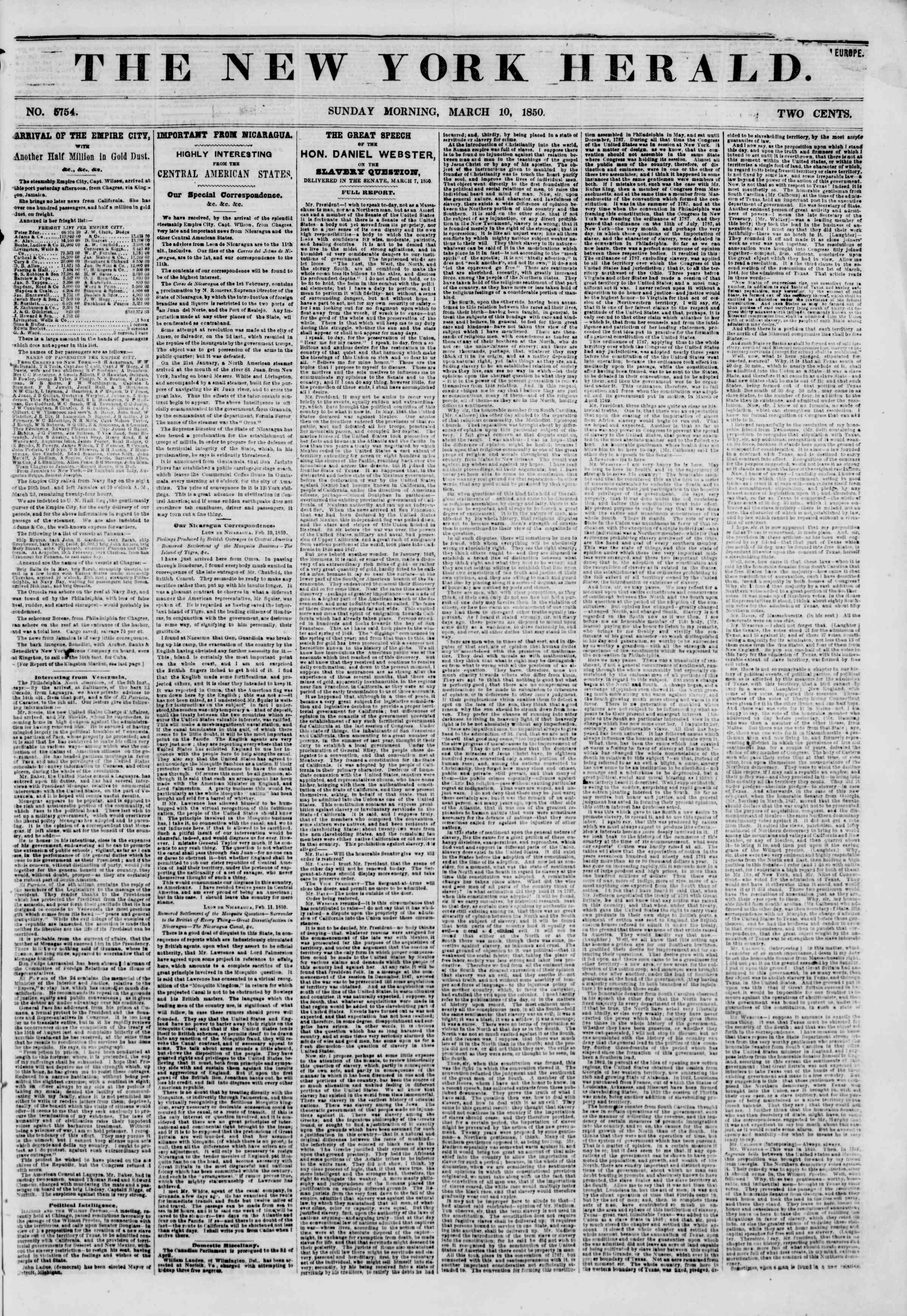 Newspaper of The New York Herald dated March 10, 1850 Page 1