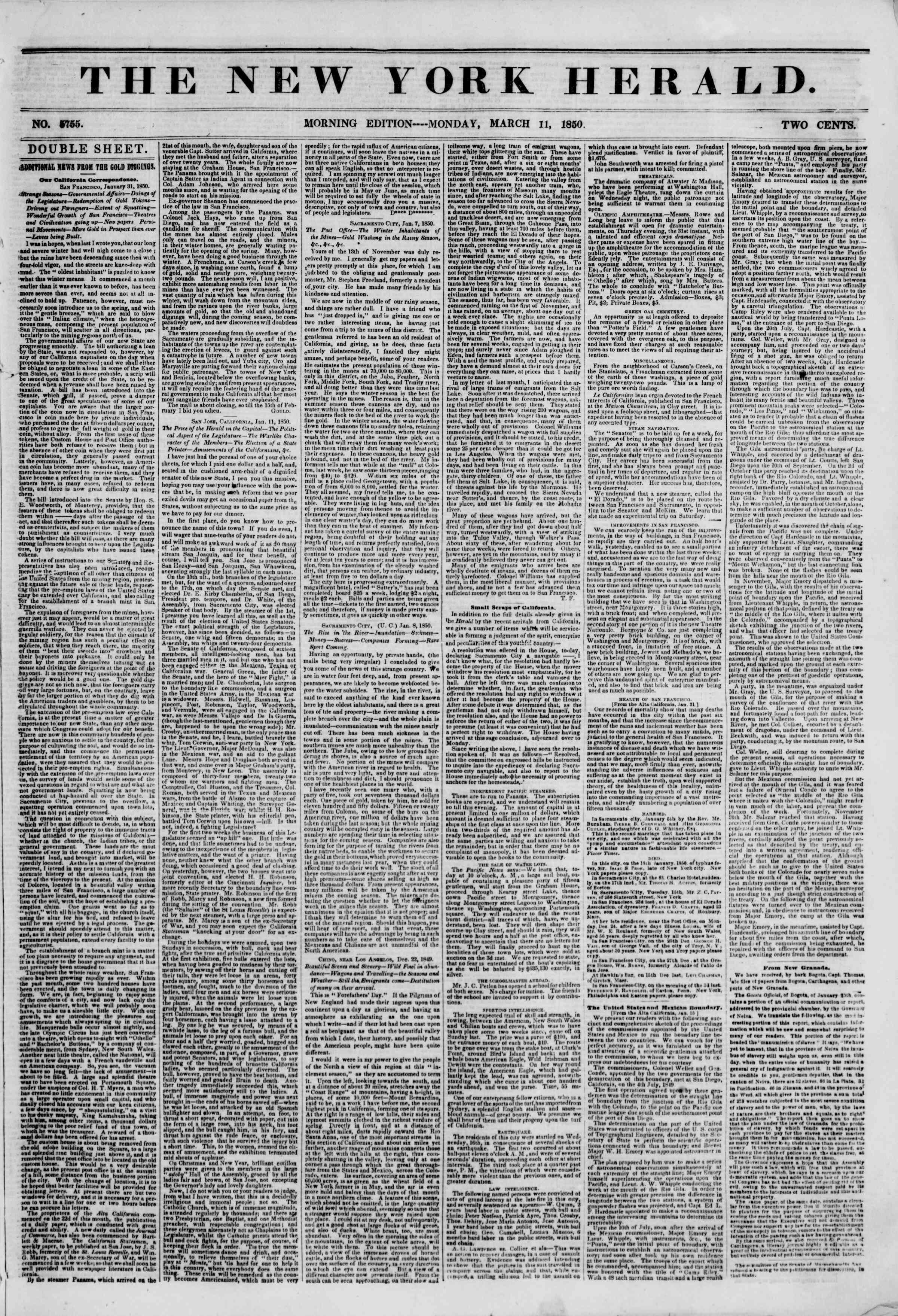 Newspaper of The New York Herald dated March 11, 1850 Page 1