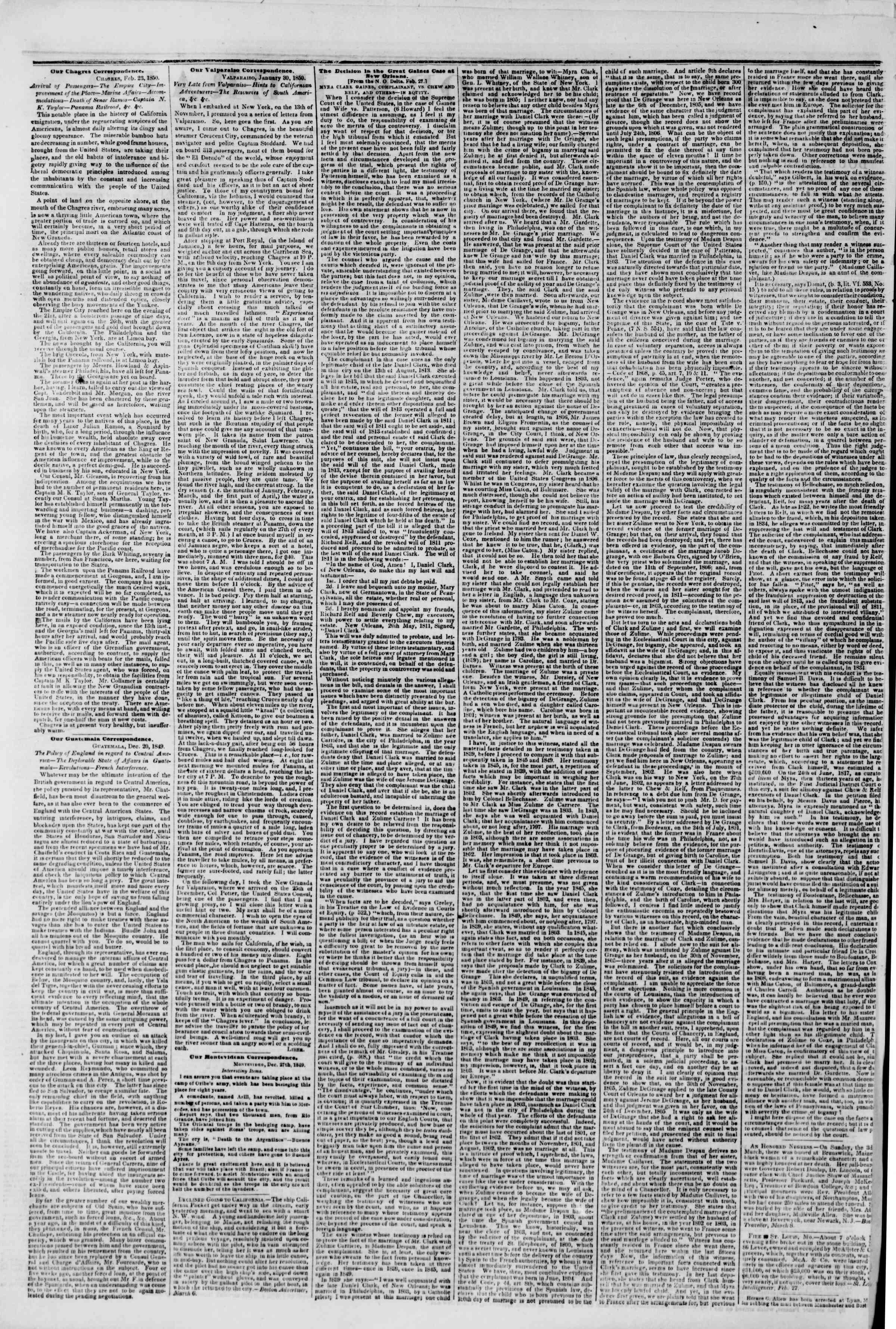 11 Mart 1850 tarihli The New York Herald Gazetesi Sayfa 2