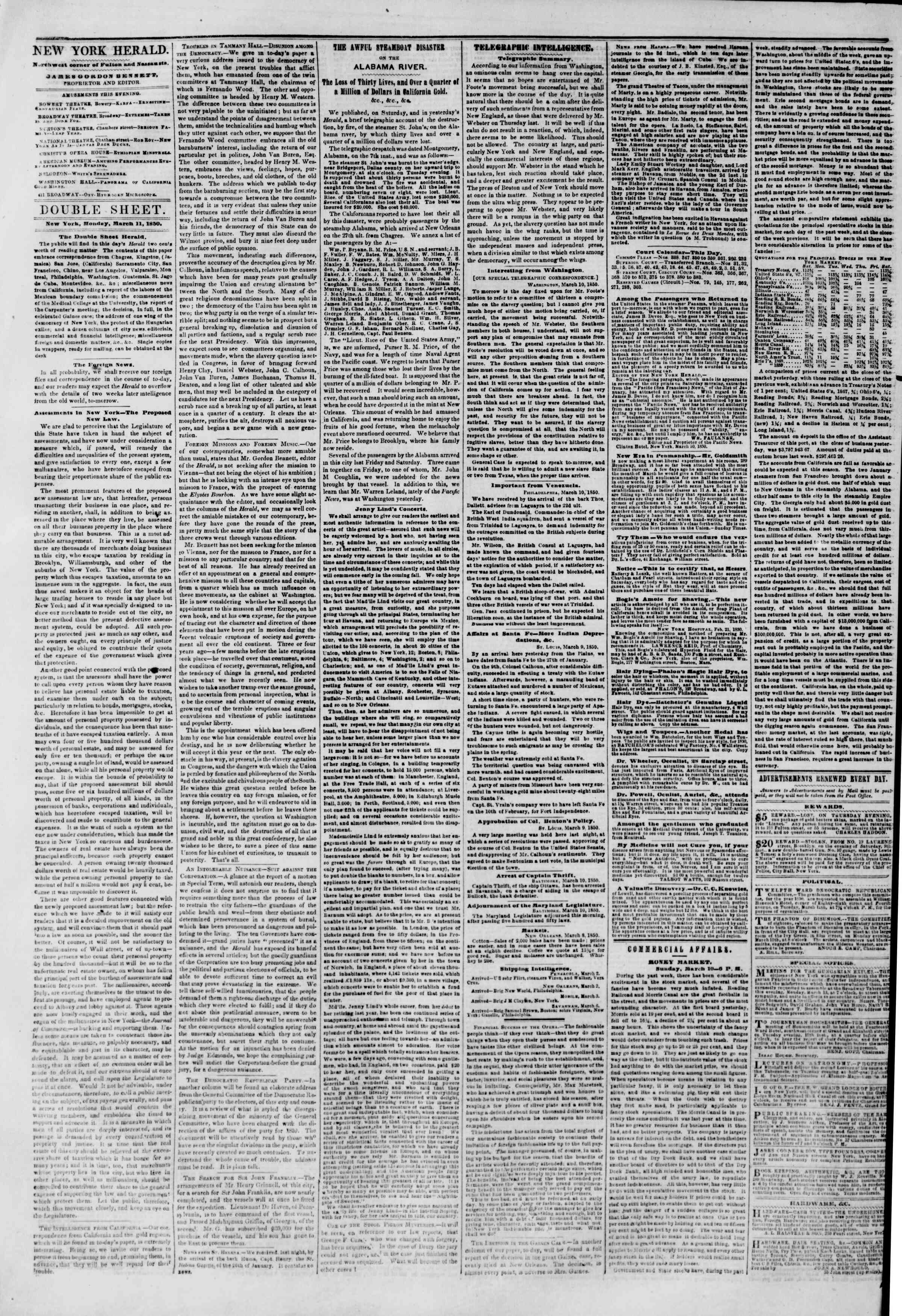 Newspaper of The New York Herald dated March 11, 1850 Page 4