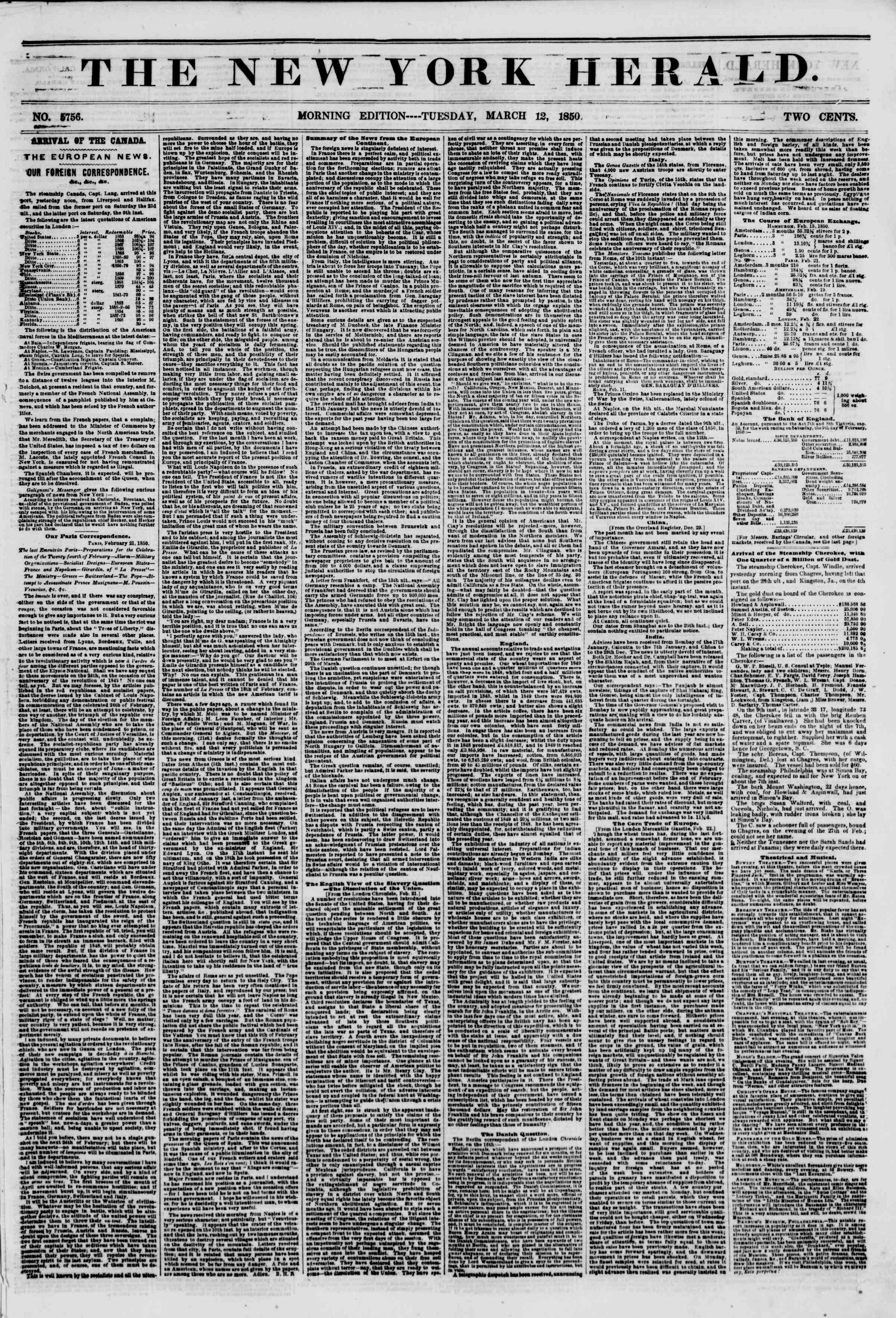 Newspaper of The New York Herald dated March 12, 1850 Page 1