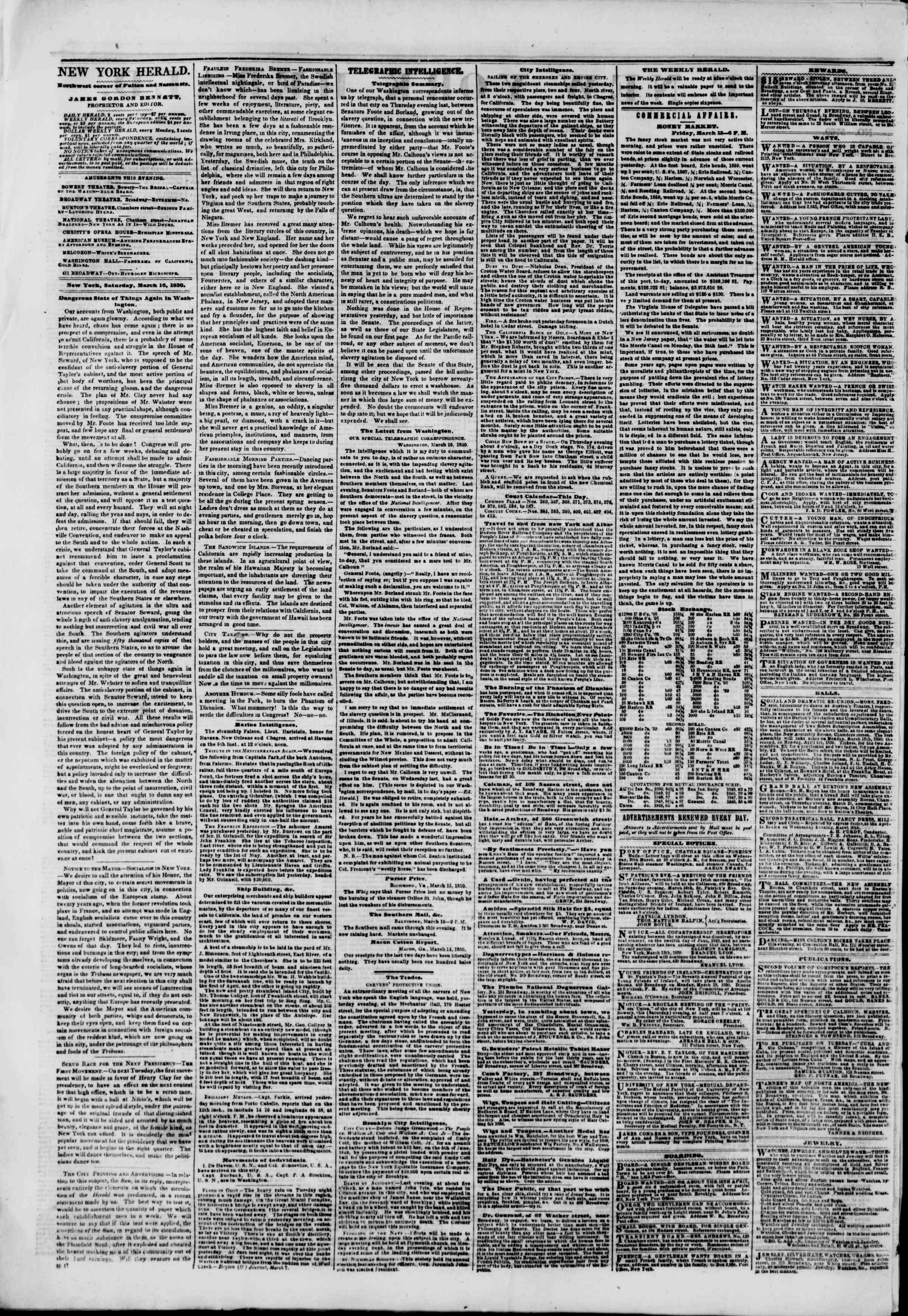 Newspaper of The New York Herald dated March 16, 1850 Page 2
