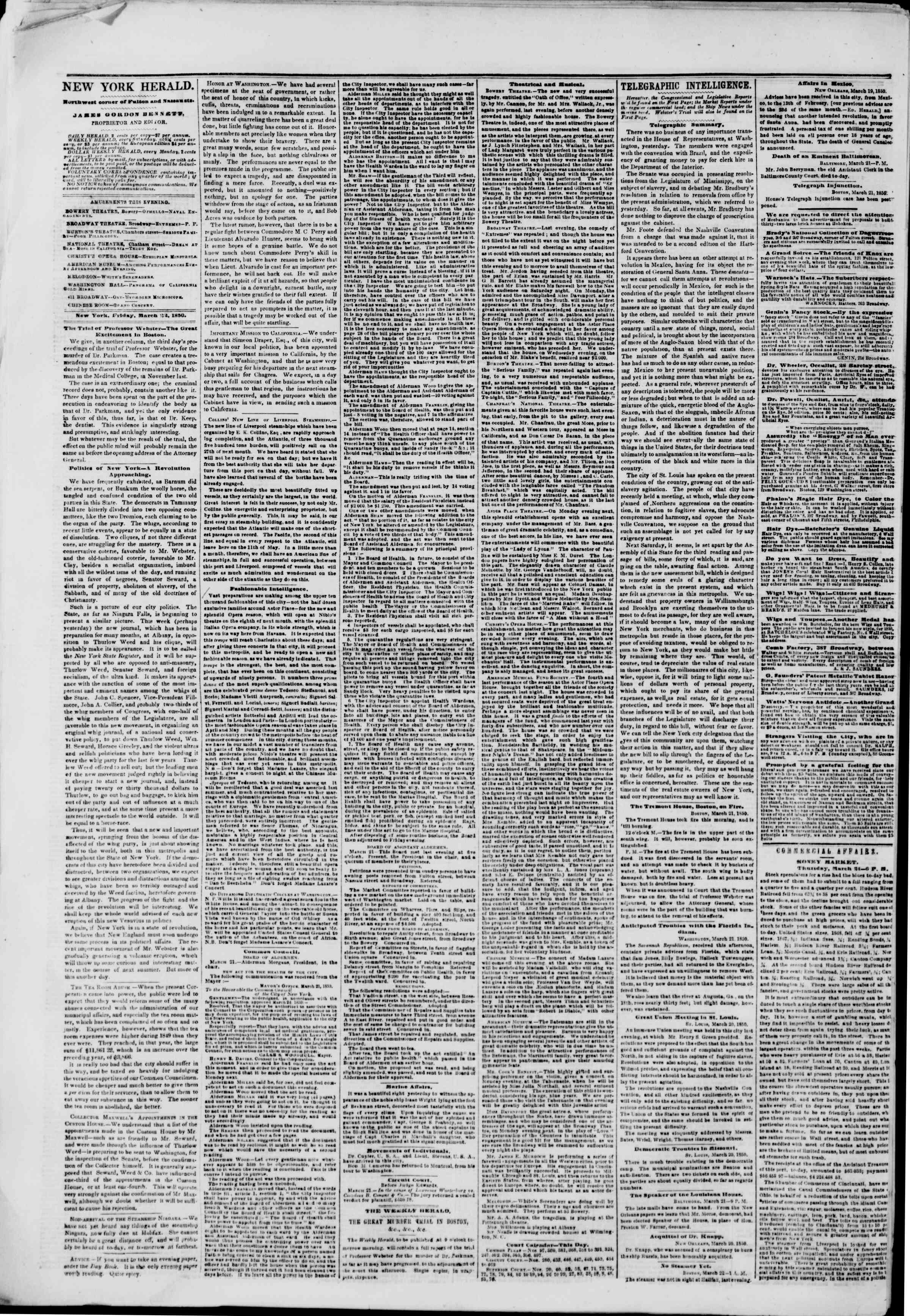 Newspaper of The New York Herald dated March 22, 1850 Page 2